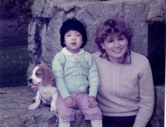 The author with her mother and their dog Casey in the early 1980s