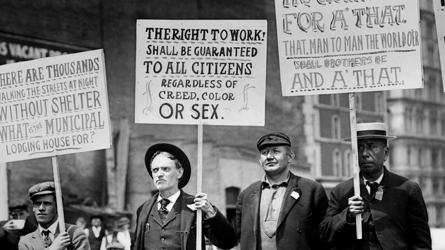 Parade of Unemployed Men Carrying Signs, New York City, New York, USA, Bain News Service (May 1909)