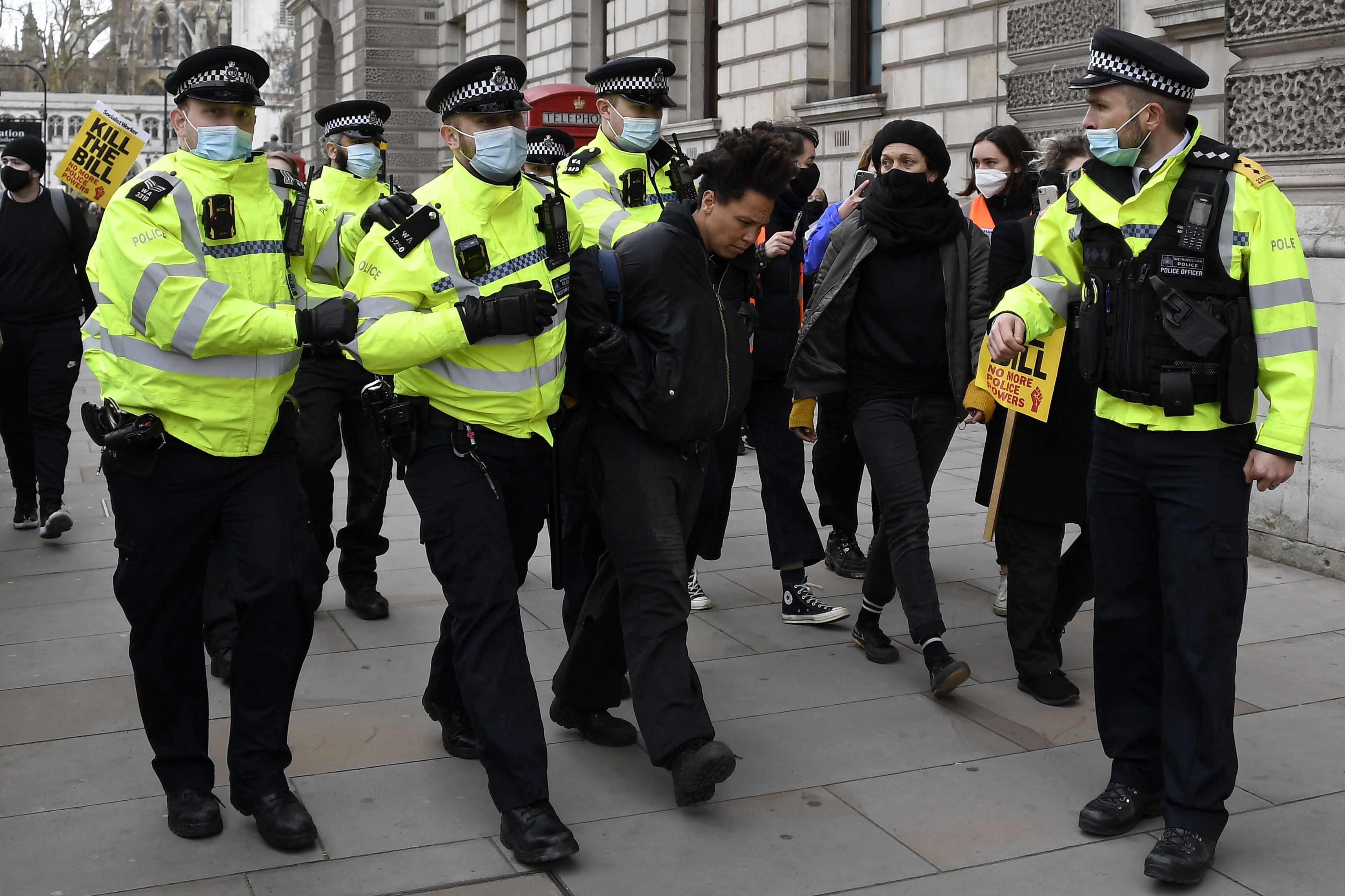 Police detain a man for blocking traffic at Parliament Square during a 'Kill the Bill' protest in London, U.K. on April 3, 2021.