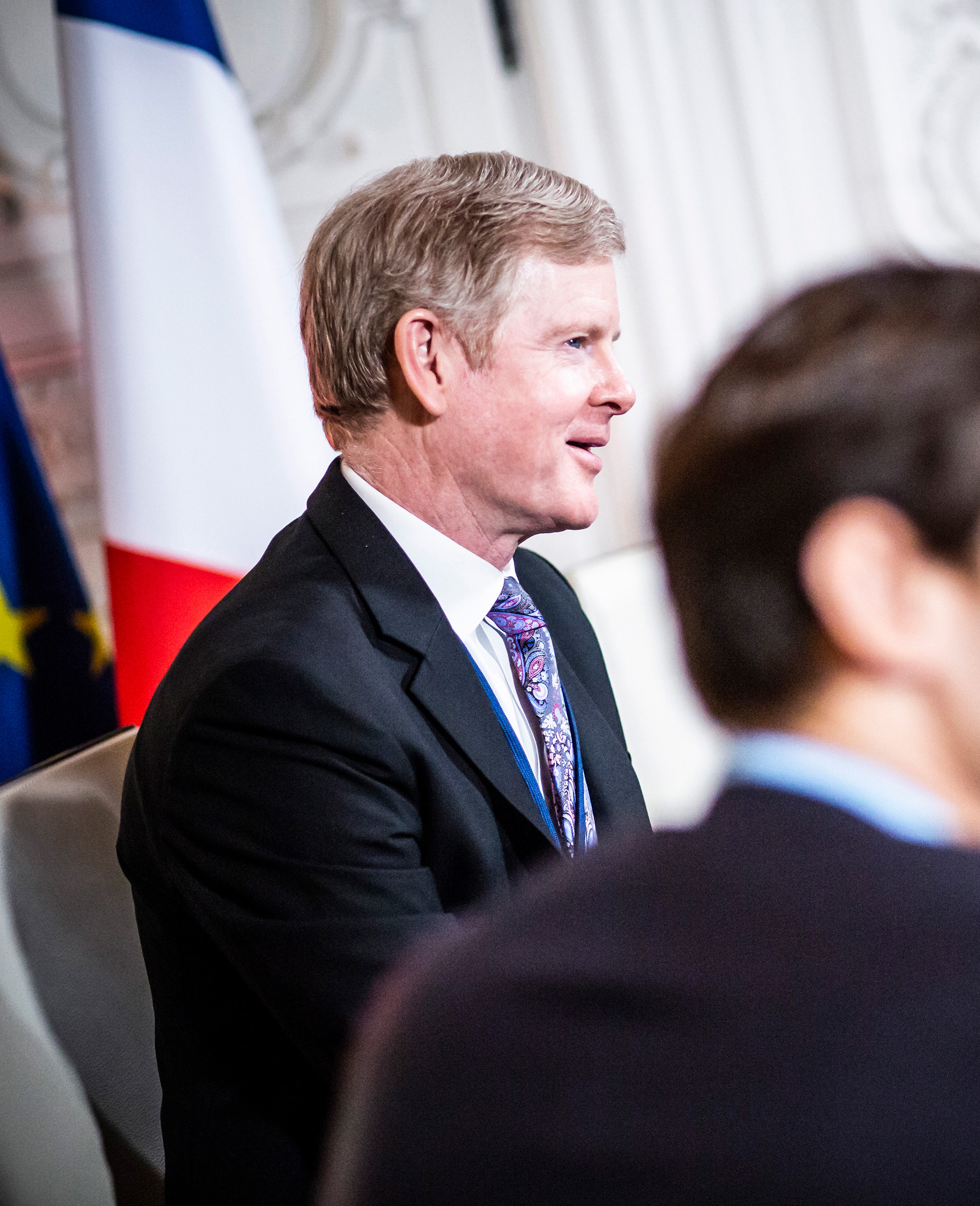 David S. Taylor, CEO of Procter & Gamble, vists with President Emmanuel Macron in France on Jan. 21, 2019.
