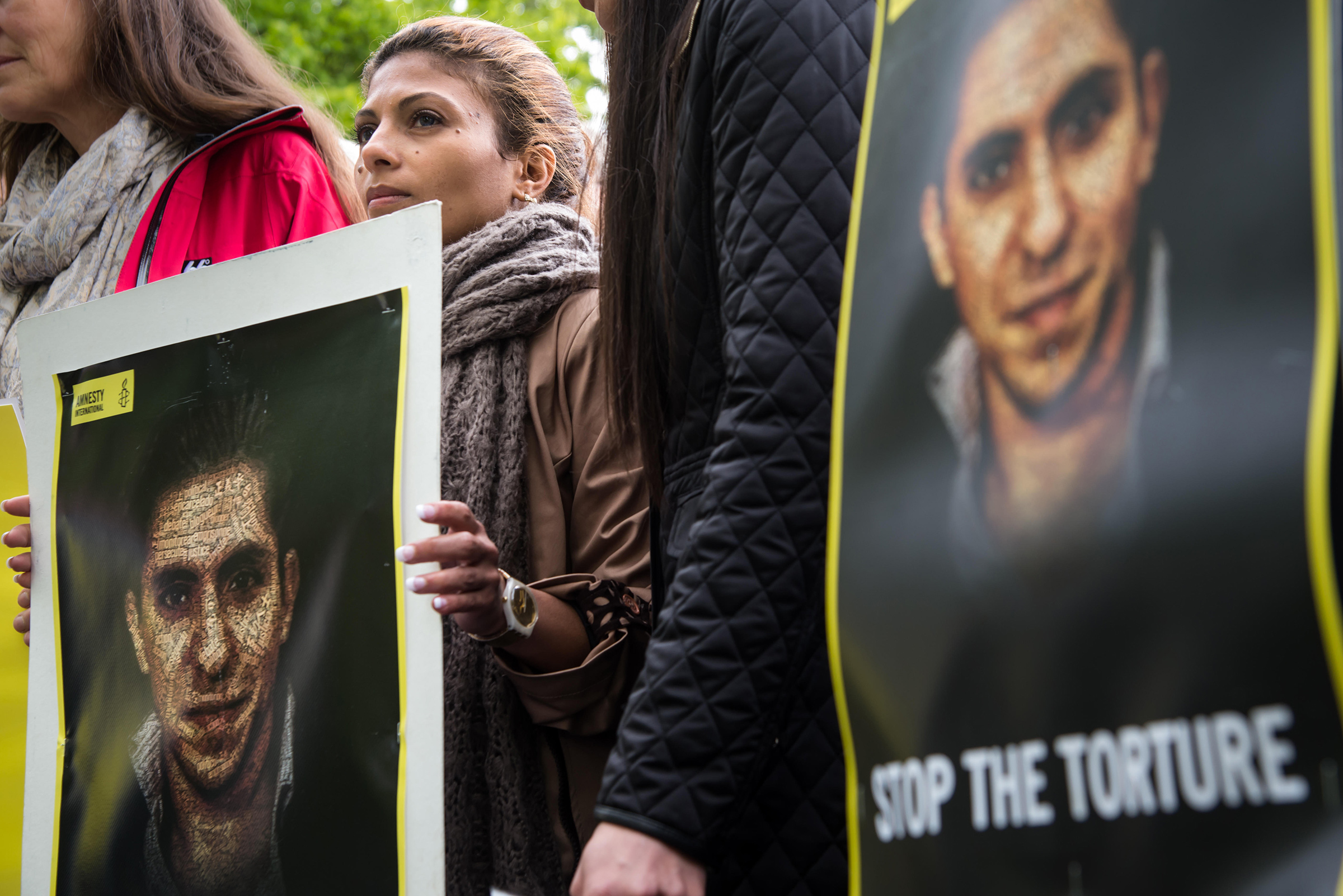 Ensaf Haidar, wife of imprisoned Saudi Arabian blogger Raif Badawi, protests for his release.
