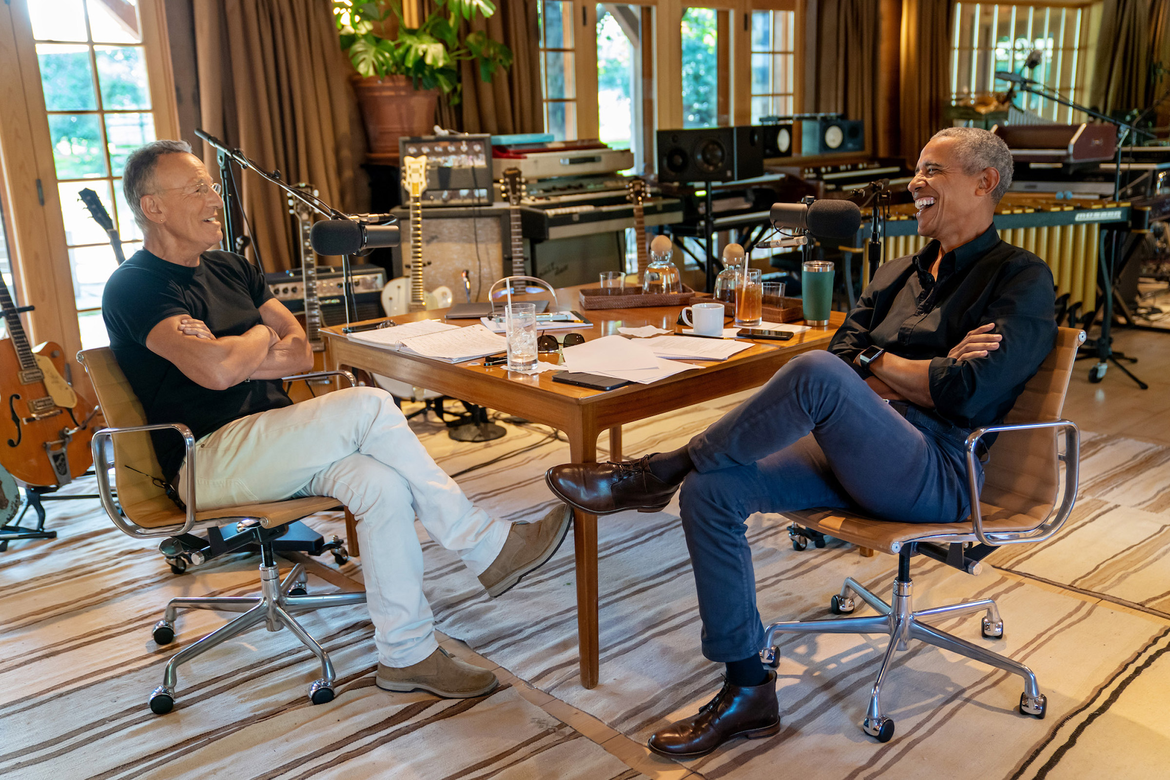 Musician Bruce Springsteen and former president Barack Obama record an episode of their Spotify podcast series  Renegades: Born in the USA.