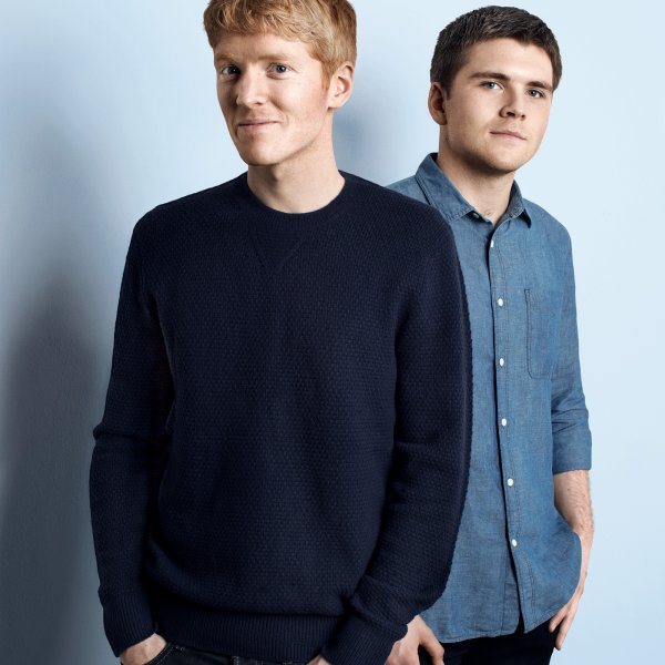 John Collison and Patrick Collison, founders of Stripe, on Feb. 12, 2016.