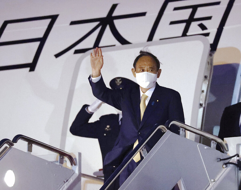 Japan's Prime Minister Yoshihide Suga arrives at Joint Base Andrews for a visit to the U.S. in the Washington D.C. suburbs in U.S. on April 15, 2021.