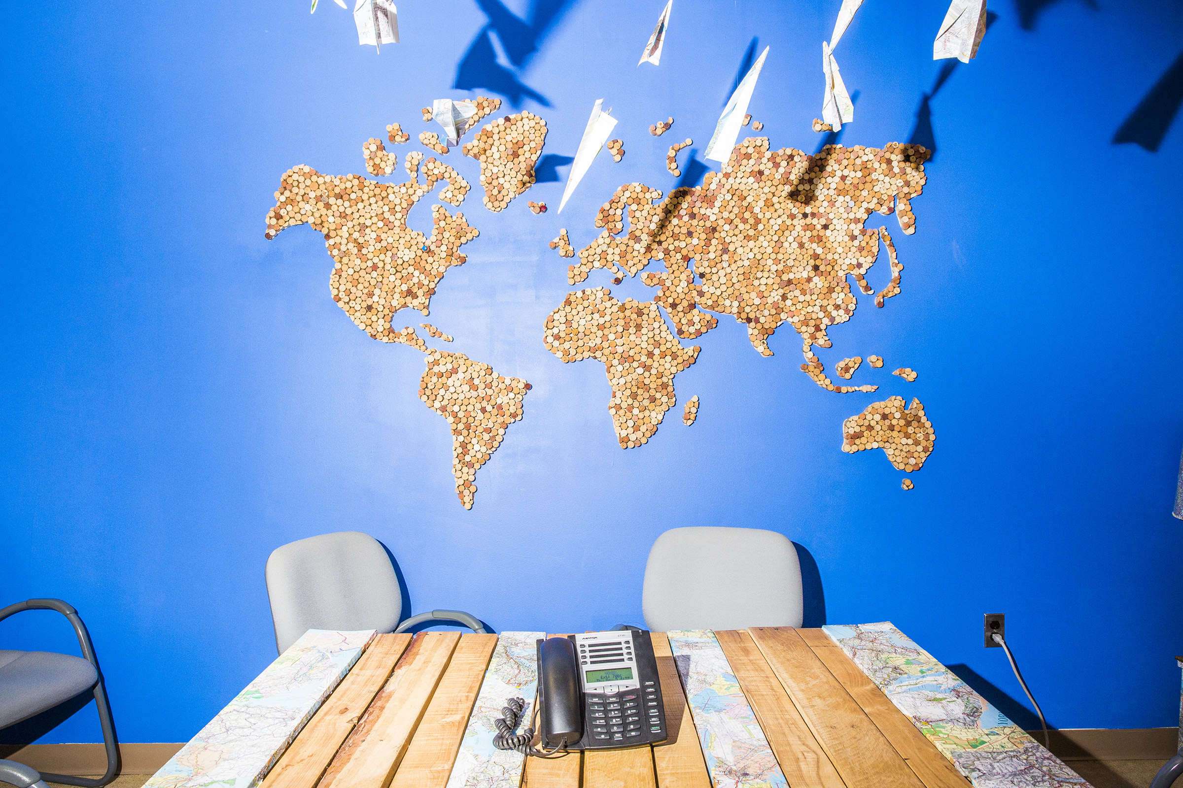 A map of the world made from bottle corks is displayed on a wall at TerraCycle headquarters in Trenton, N.J., on Nov. 9, 2017.