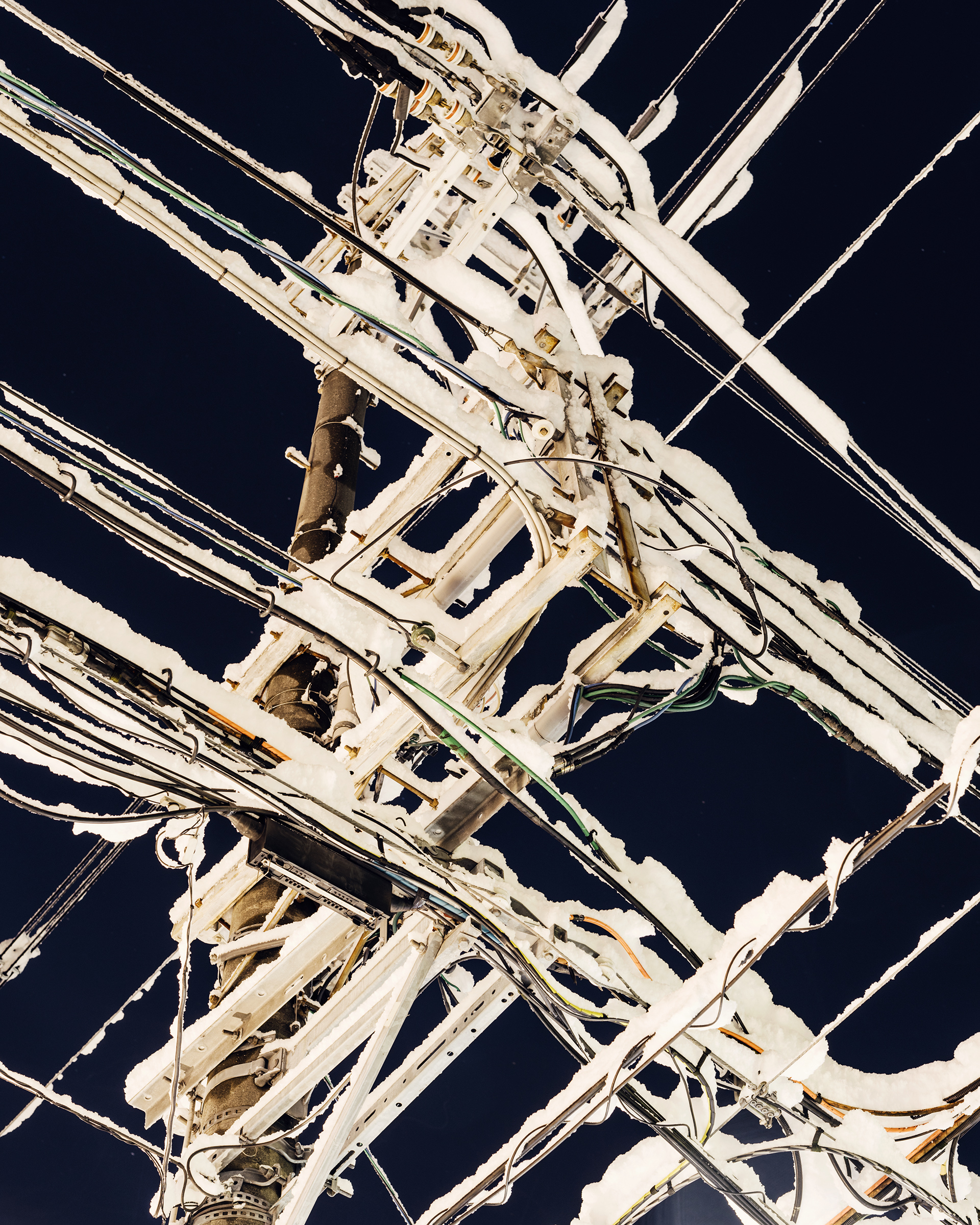 Power lines after a New Year's Eve snowstorm in Kyoto.