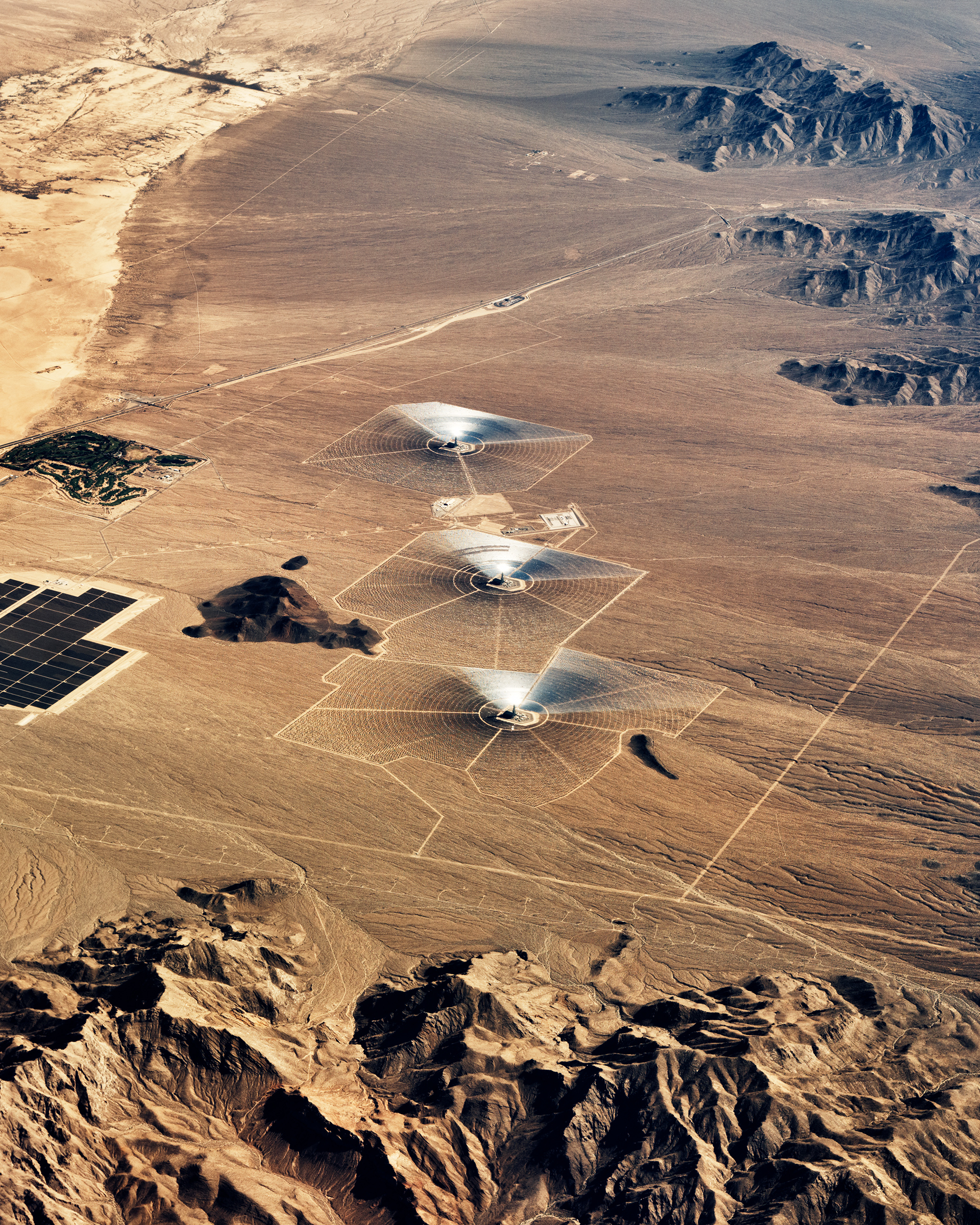 Aerial view of the Ivanpah solar power plant, located in California near the border with Nevada.