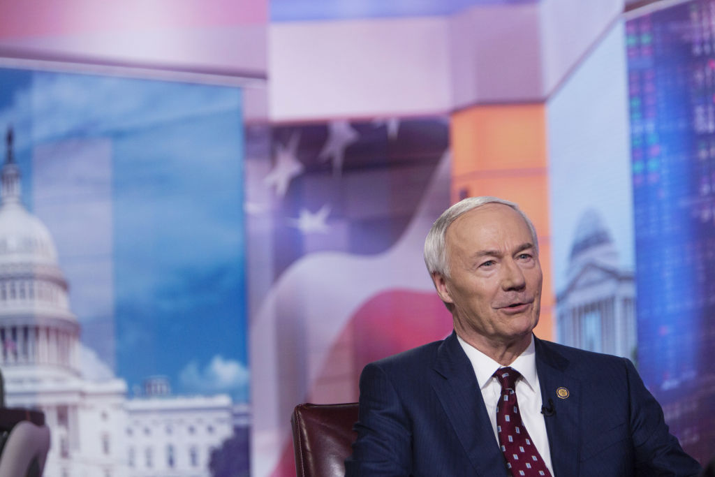 Asa Hutchinson, governor of Arkansas, speaks during a Bloomberg Television interview in New York, U.S., on May 28, 2019.