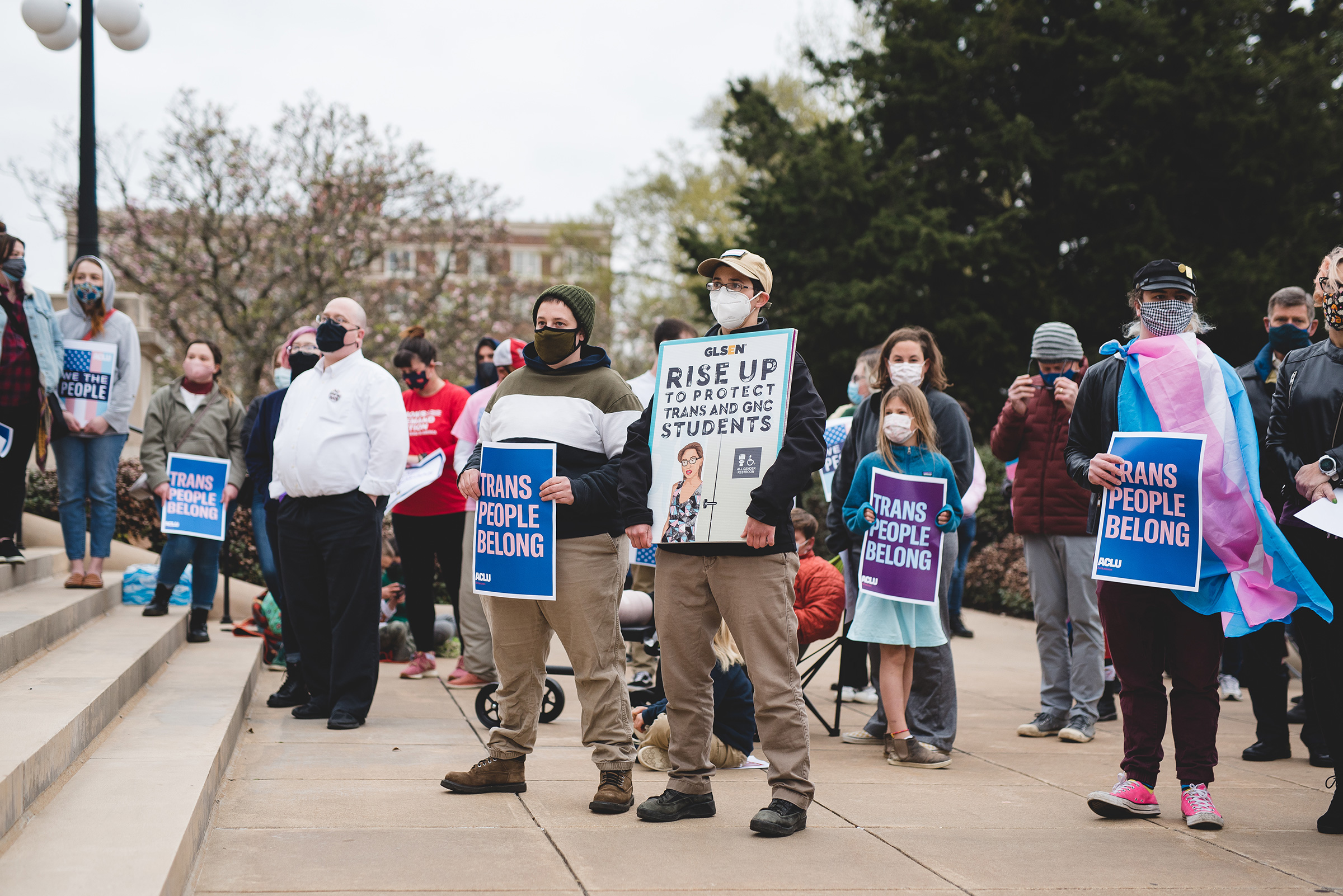 Transgender rights advocates rally outside the Arkansas state Capitol on March 18, 2021.