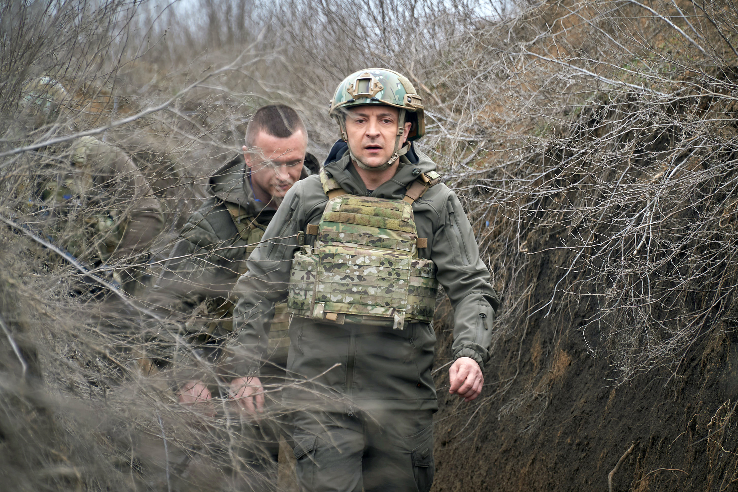 Ukraine's President Volodymyr Zelensky visits positions of armed forces near the frontline with Russian-backed separatists in Donbass region, Ukraine, on April 9, 2021.