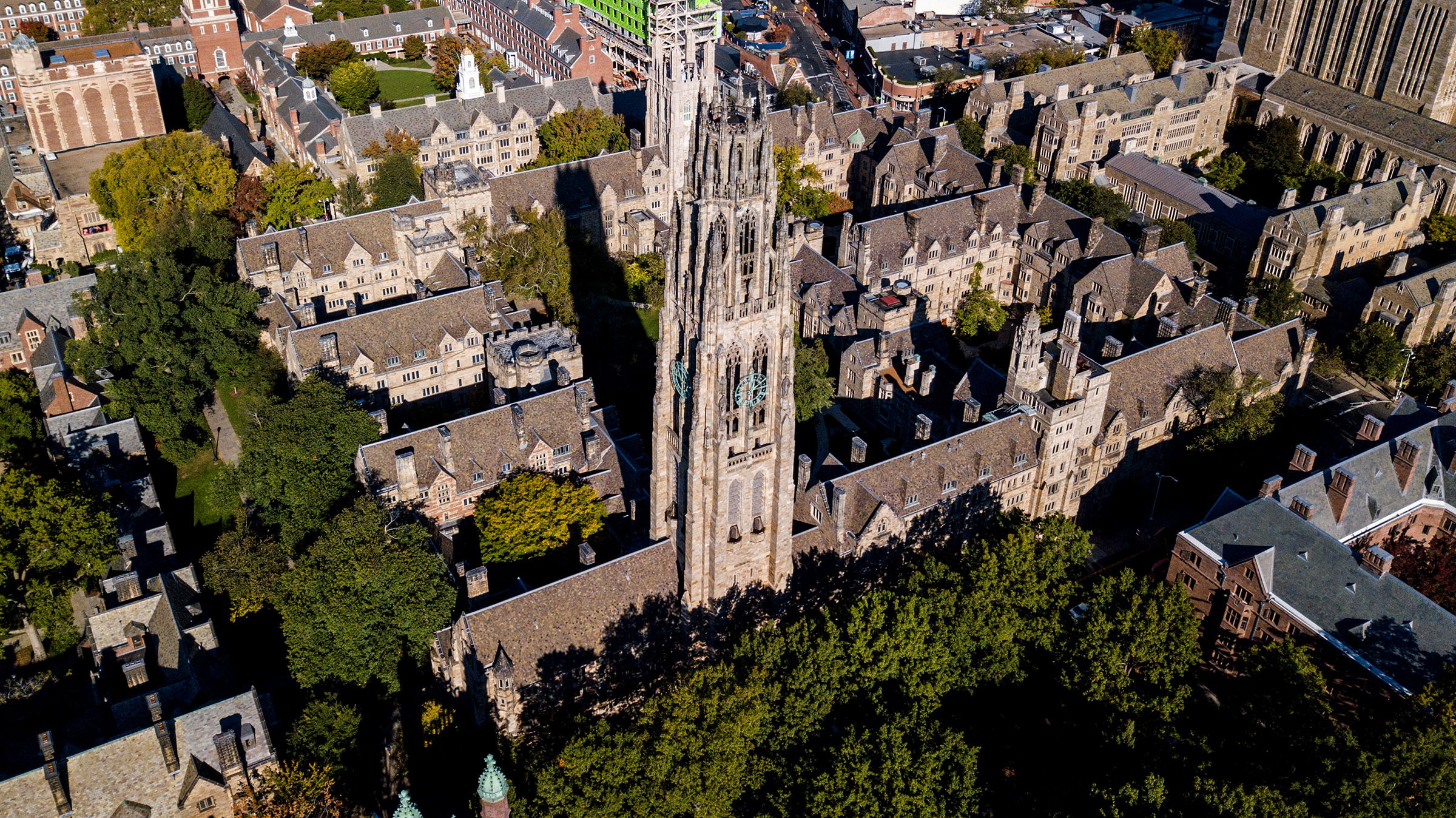 An aerial view of the Yale University Campus in New Haven, Connecticut.