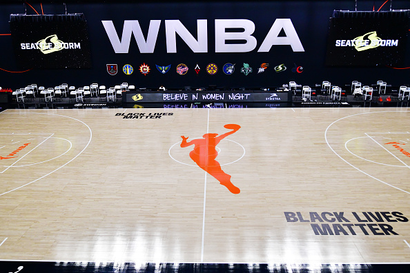 The digital ad board displays the words  Believe in Women Night  during the halftime break in a game between the Seattle Storm and the Dallas Wings at Feld Entertainment Center in Palmetto, Fla., on September 09, 2020.