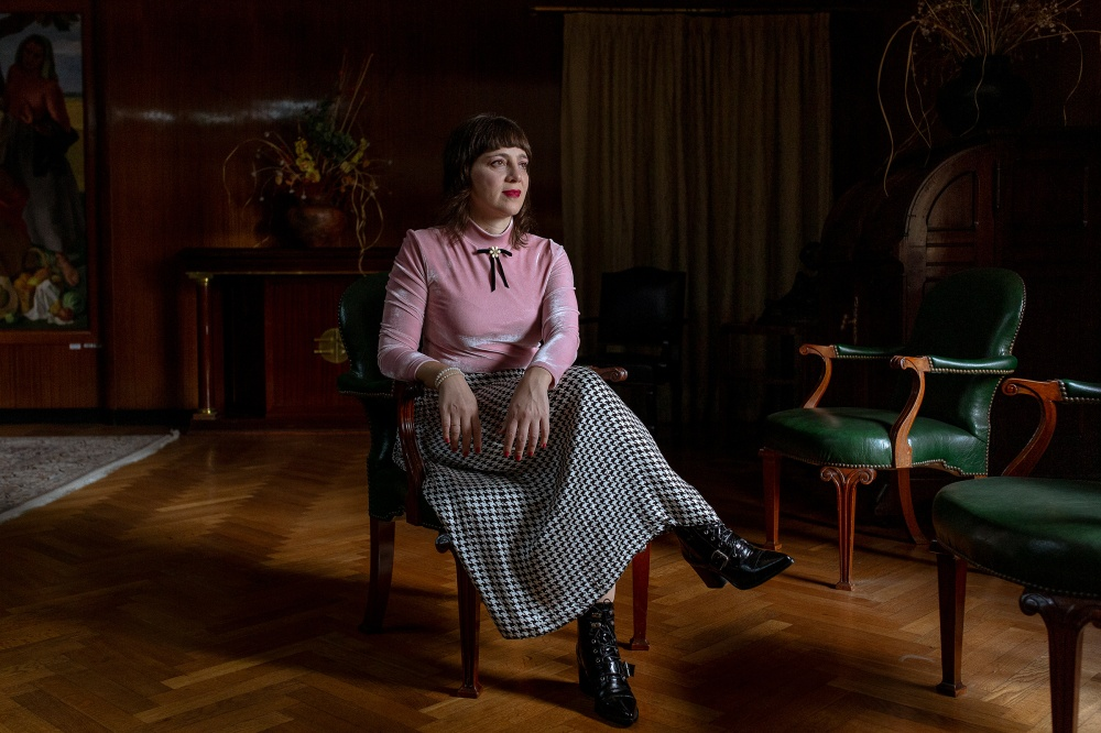 Mercedes D'Alessandro, National Director of Economy and Gender, sits for a portrait in the Ministry of Economy building in Buenos Aires on April 17.