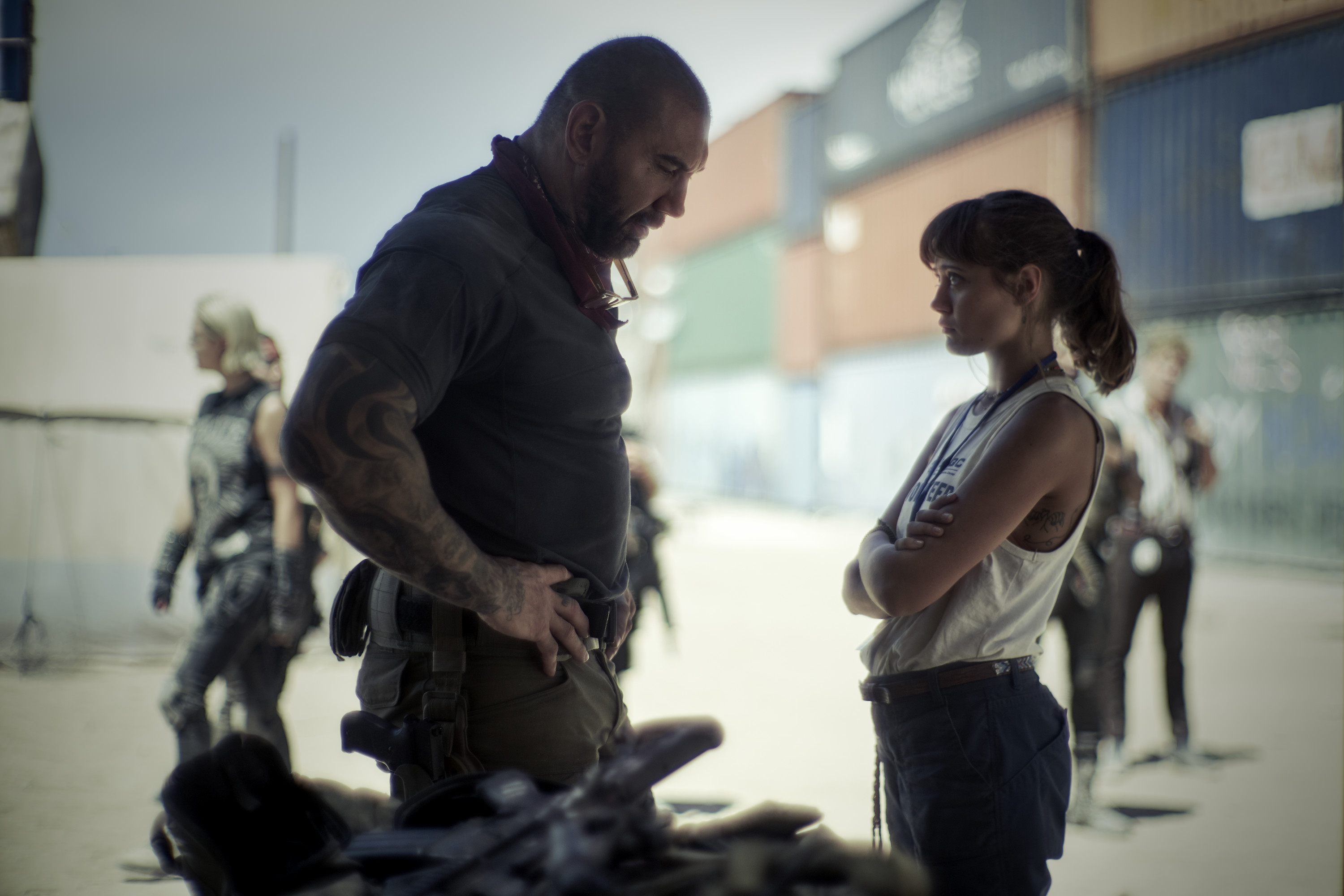 Dave Bautista and Ella Purnell in the father-daughter reconciliation portion of the movie