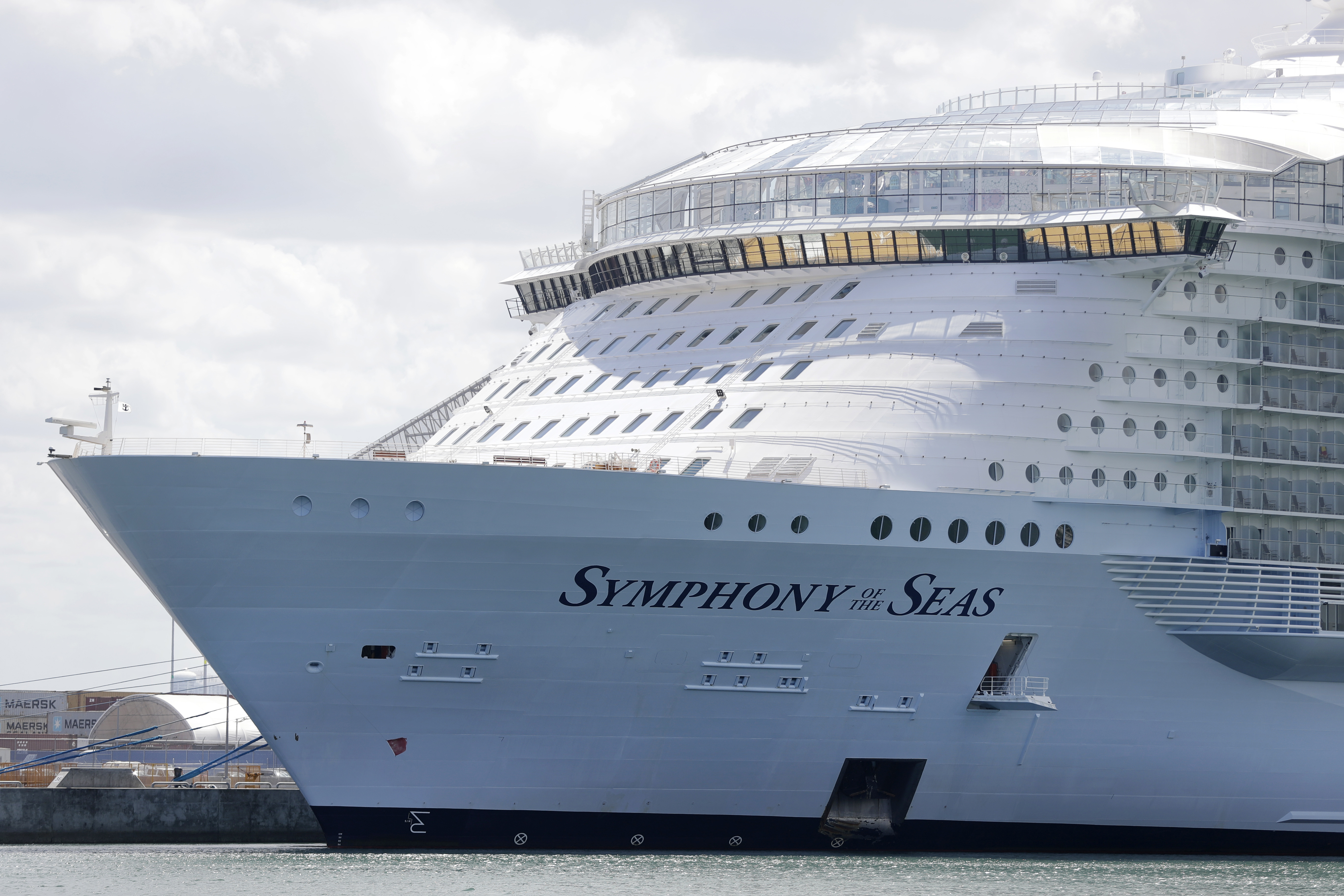 The Symphony of the Seas cruise ship is shown docked in a Wednesday, May 20, 2020, file photo, in Miami.
