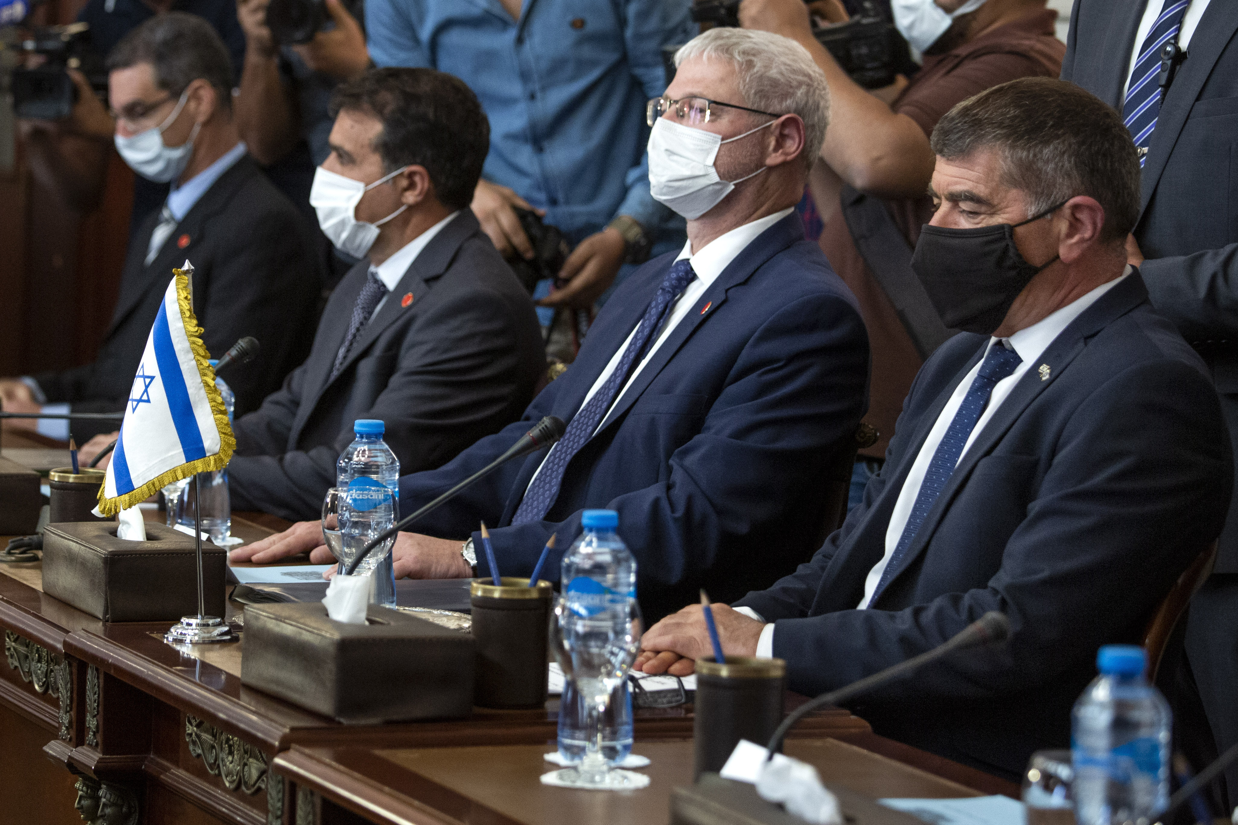Israeli Foreign Minister Gabi Ashkenazi, right, meets with Egyptian Foreign Minister Sameh Shoukry (not shown), during high-level talks to shore up a fragile truce between Israel and the Hamas militant group at the Tahrir Palace in Cairo, Egypt, on May 30, 2021.