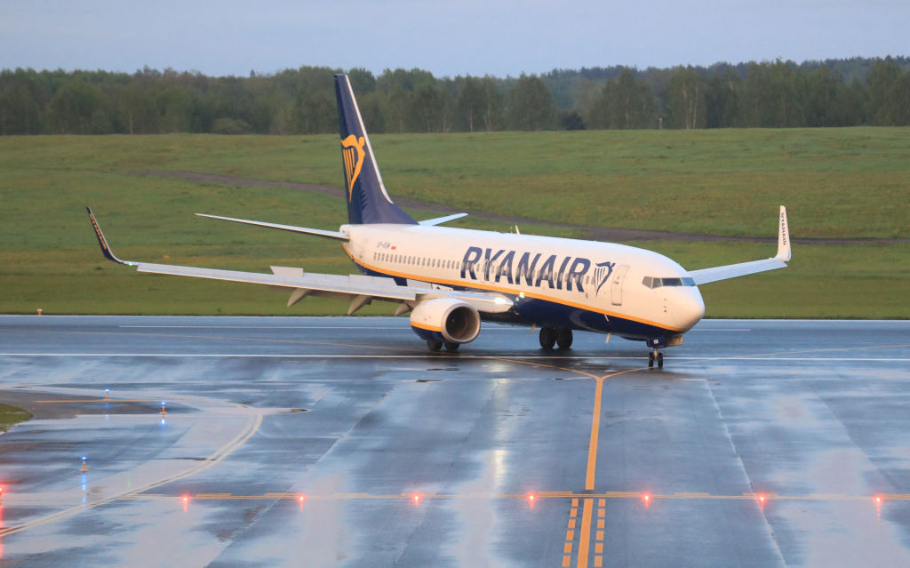 A photo taken on May 23, 2021 shows a Boeing 737-8AS Ryanair passenger plane landing at Vilnius International Airport, its initial destination, after it was intercepted and diverted to Minsk by Belarus authorities.