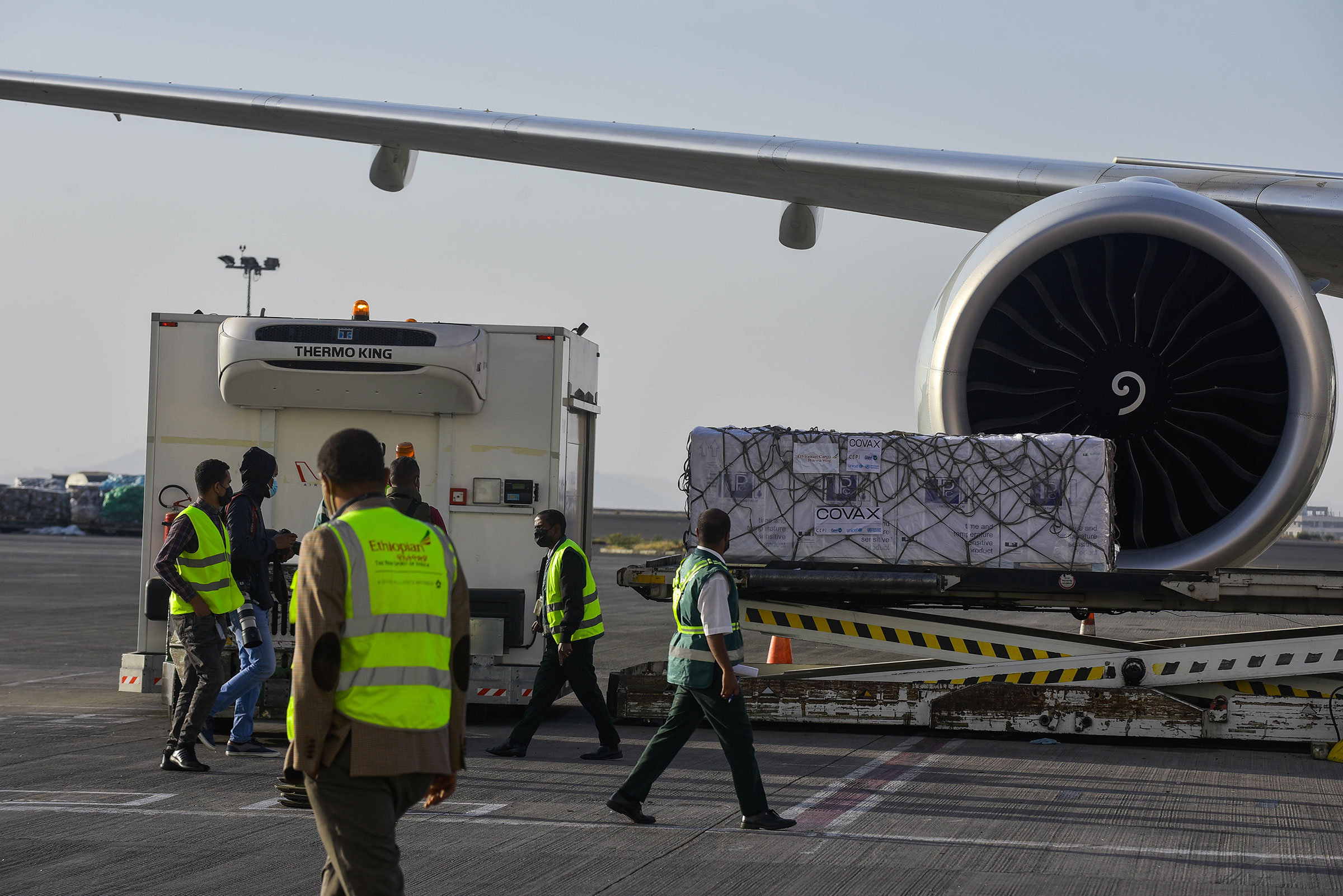 COVID-19 vaccines from COVAX arrive at Bole international airport in Addis Ababa, Ethiopia, on March 7, 2021.