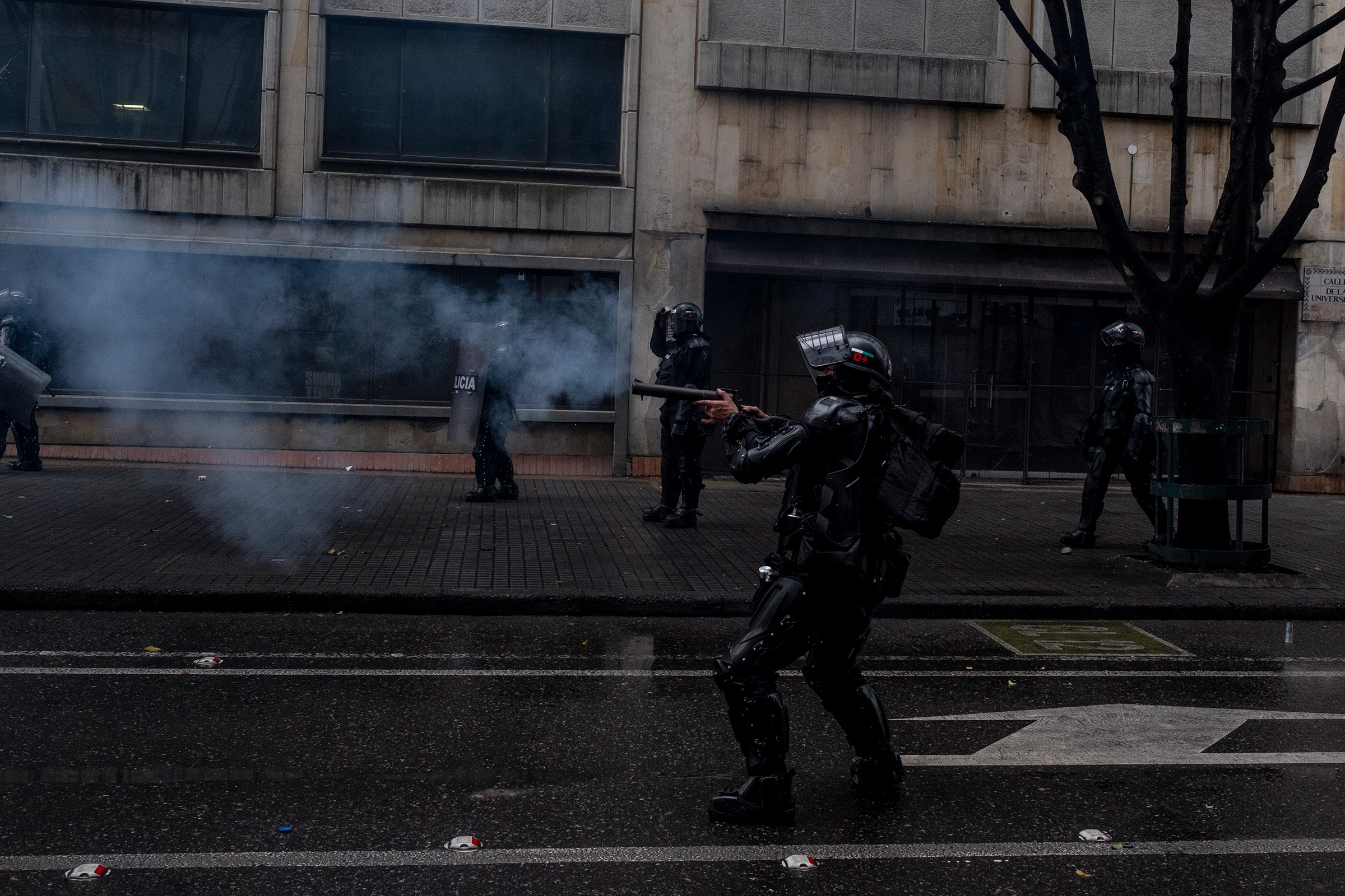 Police fire at protesters in north Bogotá on April 28.