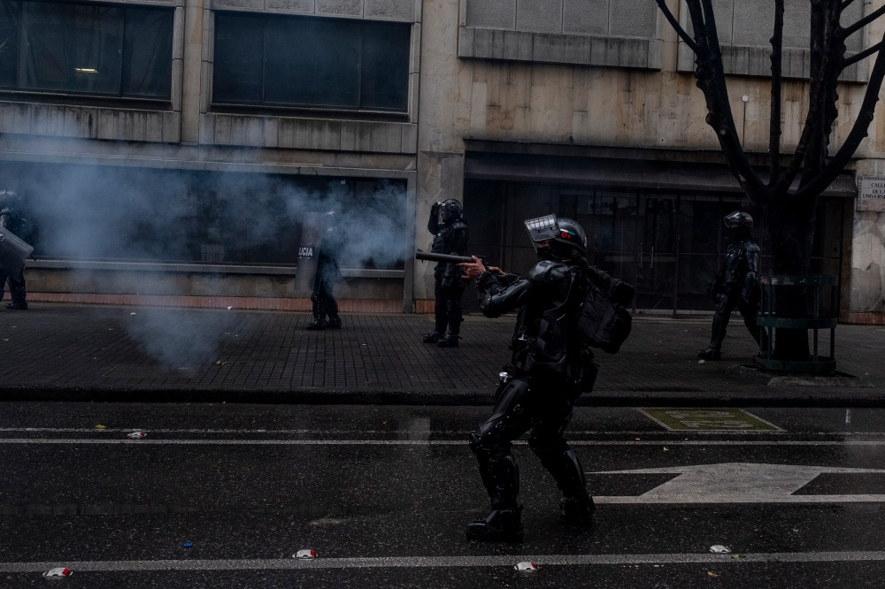 Between April 28 and May 5, there were 110 cases of gunfire by the police in Colombia. North of Bogotá .Picture by Santiago Mesa