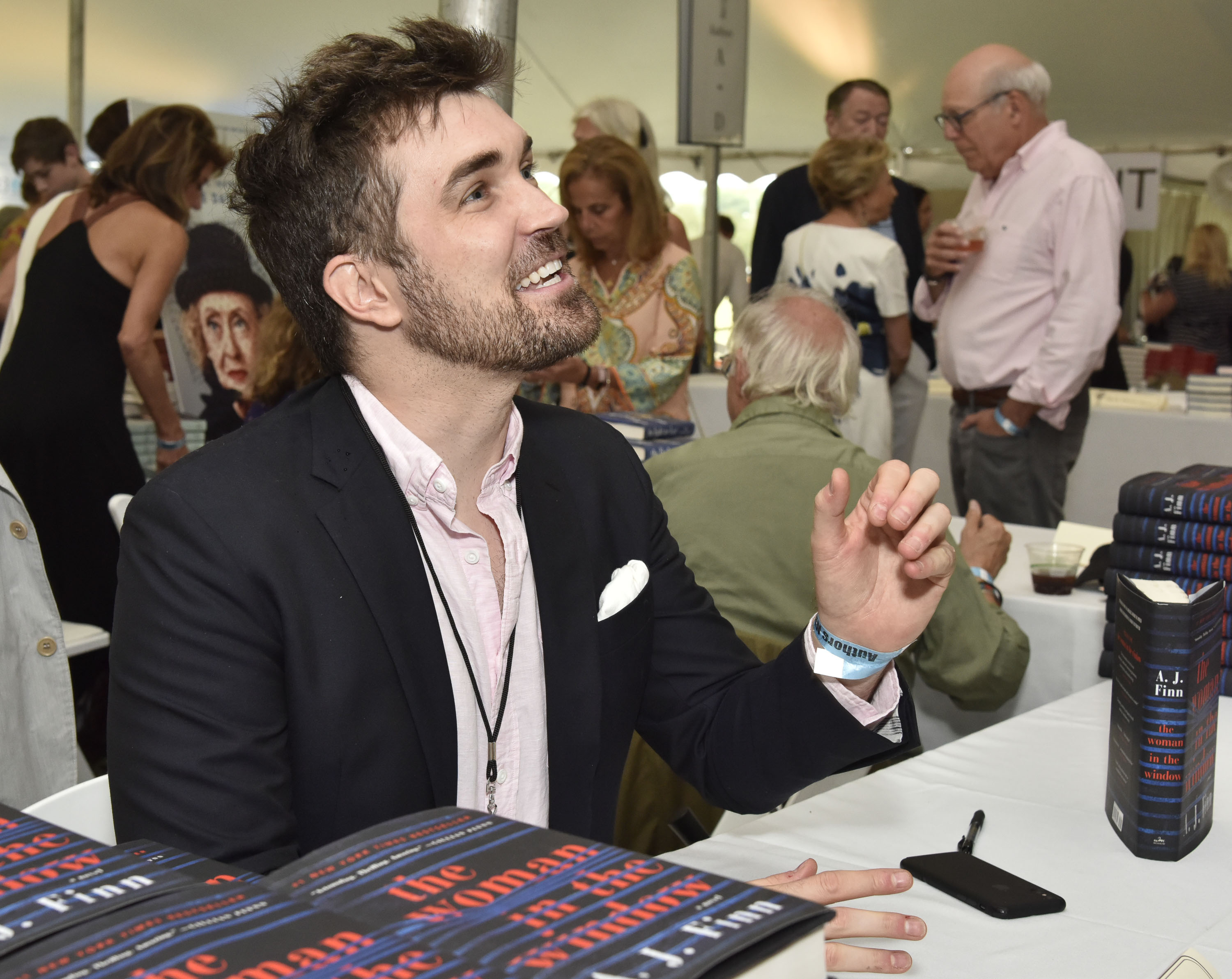 A.J. Finn (Dan Mallory) attends Authors Night at East Hampton Library on August 11, 2018 in East Hampton, New York.