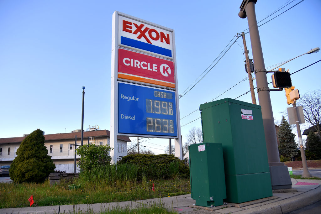 An Exxon gas station sign shows current gas prices last year in Clark, New Jersey.