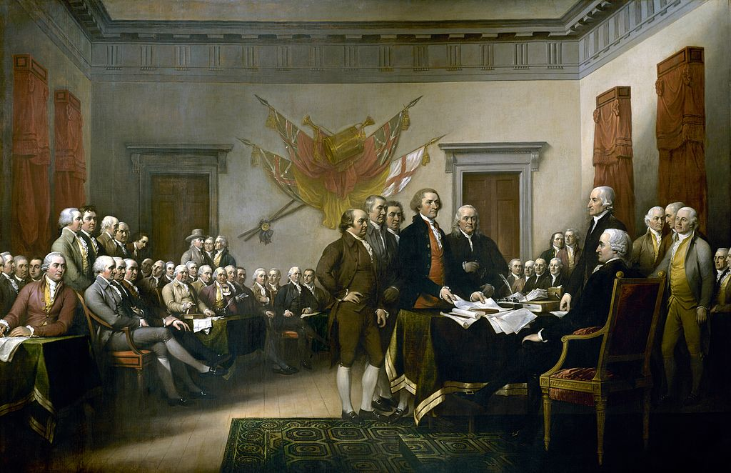 John Trumbull's painting depicting the five-man drafting committee of the Declaration of Independence presenting their work to the Congress
