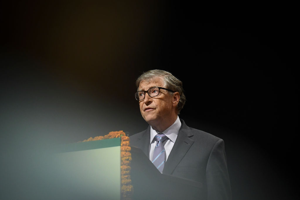 Bill Gates speaks at the inauguration of the 8th International Conference on Agriculture Statistics in New Delhi, India on 18 November 2019.