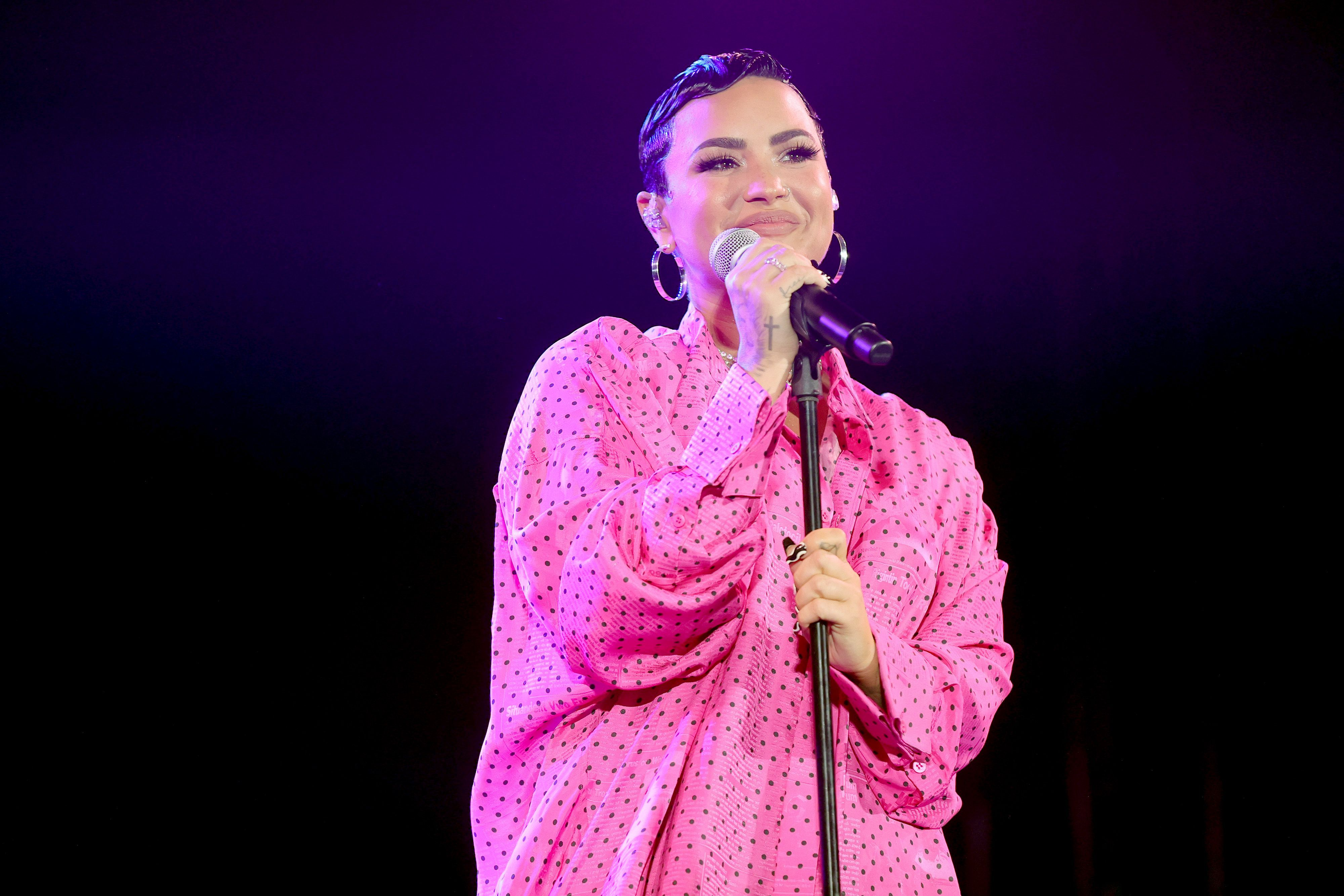 Demi Lovato performs during the premiere of  Demi Lovato: Dancing With The Devil  in Beverly Hills, Calif., on March 22, 2021.
