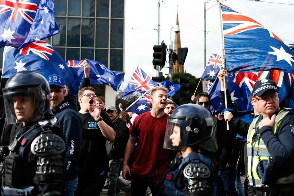 Police patrol as members of the right wing nationalists 'True Blue Crew' march during a protest organized by the anti-Islam True Blue Crew supported by the United Patriots Front, in Melbourne, Australia on June 25, 2017.