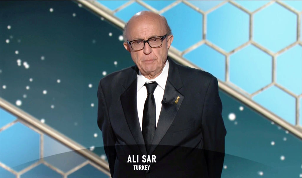 Hollywood Foreign Press Association President Ali Sar speaks onstage at the 78th Annual Golden Globe Awards broadcast on Feb. 28, 2021.