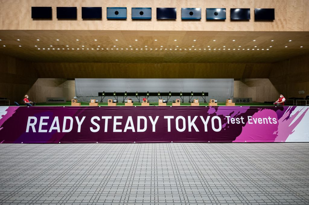A general view shows Asaka Shooting Range, the main venue for shooting for Tokyo 2020 Olympic and Paralympic, during a test event for the Tokyo 2020 Olympic Games, in Nerima district of Tokyo on May 18, 2021.