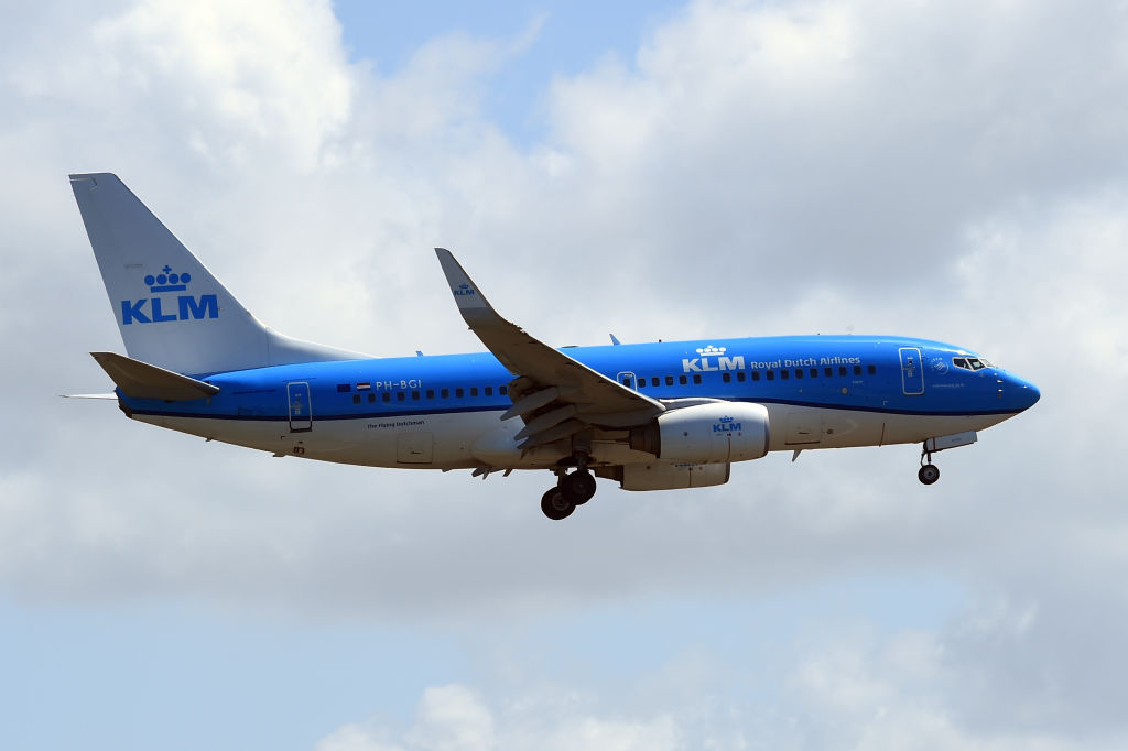Boeing 737 KLM. Aircraft flies near the Fiumicino International Airport in Rome, on May 13th, 2021.