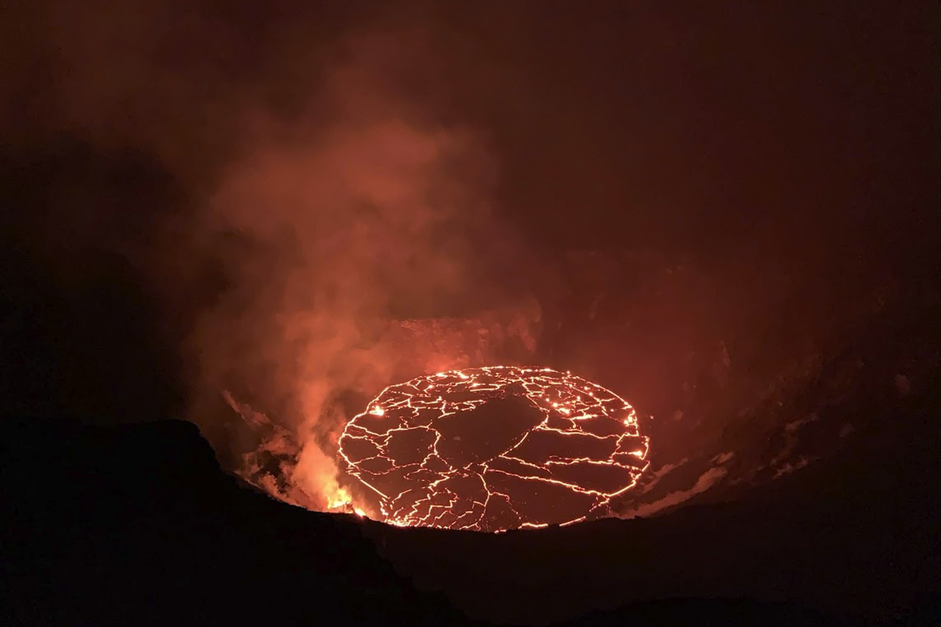 This Dec. 28, 2020, file photo provided by the U.S. Geological Survey shows the eruption at Hawaii's Kilauea Volcano. The U.S. Geological Survey's Hawaiian Volcano Observatory updated the status of the Big Island volcano on Wednesday, May 26, 2021, to say that it is no longer erupting.