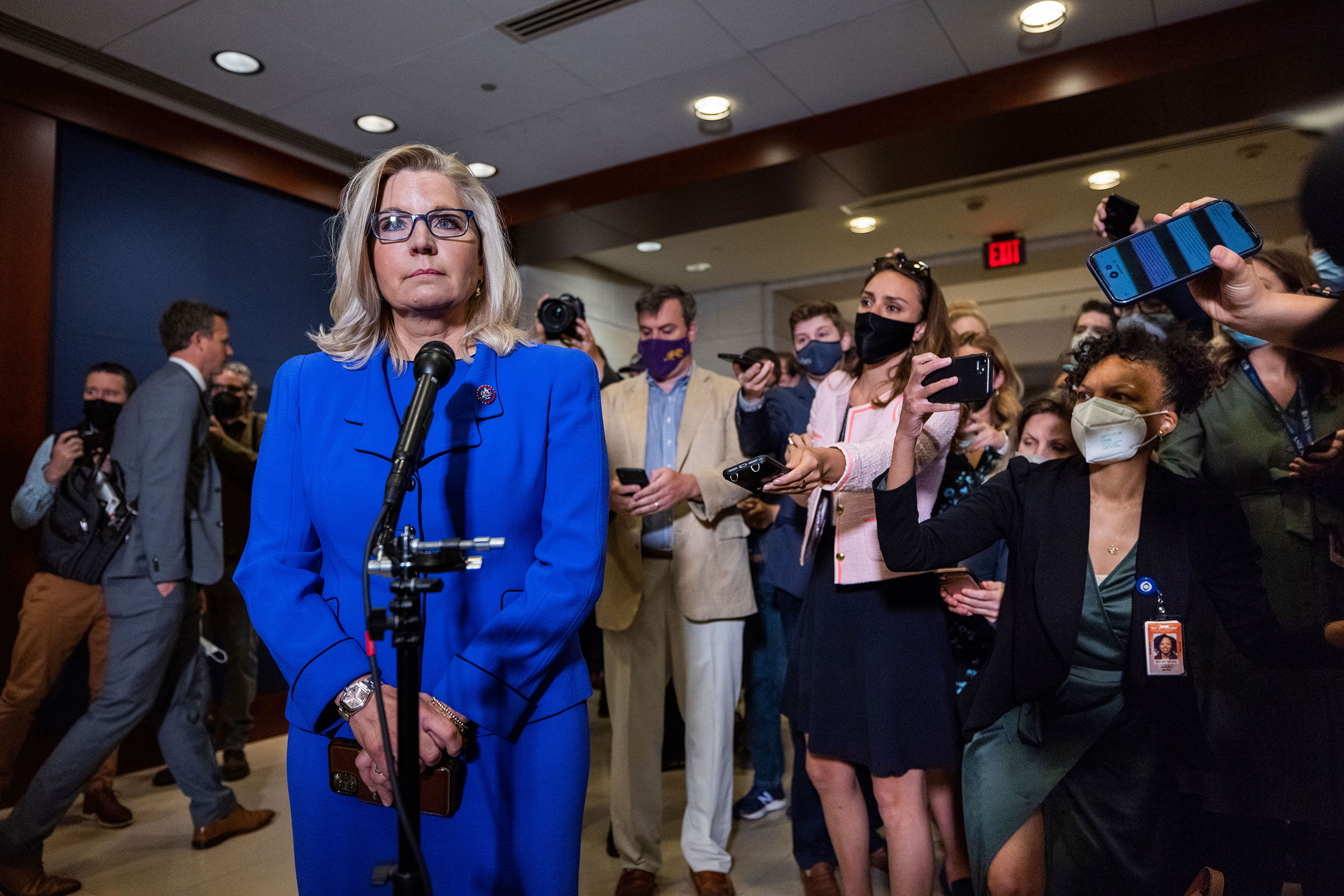 Liz Cheney speaks after being voted out of her House GOP Conference Chair position in the Capitol in Washington on May 12, 2021.