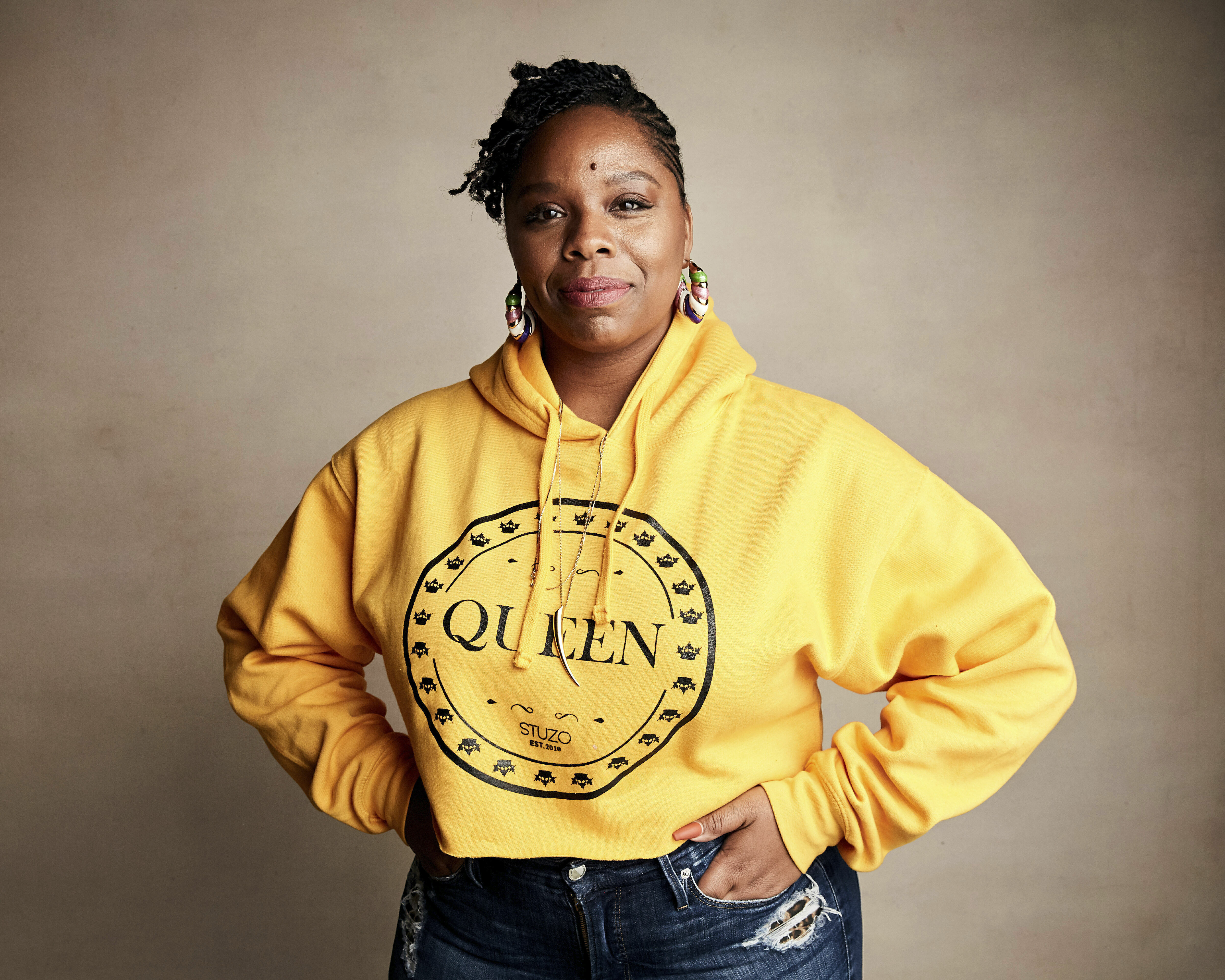 In this Jan. 27, 2019, file photo, Patrisse Cullors poses for a portrait to promote a film during the Sundance Film Festival in Park City, Utah. Cullors, a co-founder of Black Lives Matter, announced Thursday, May 27, 2021, that she is stepping down as executive director of the foundation.