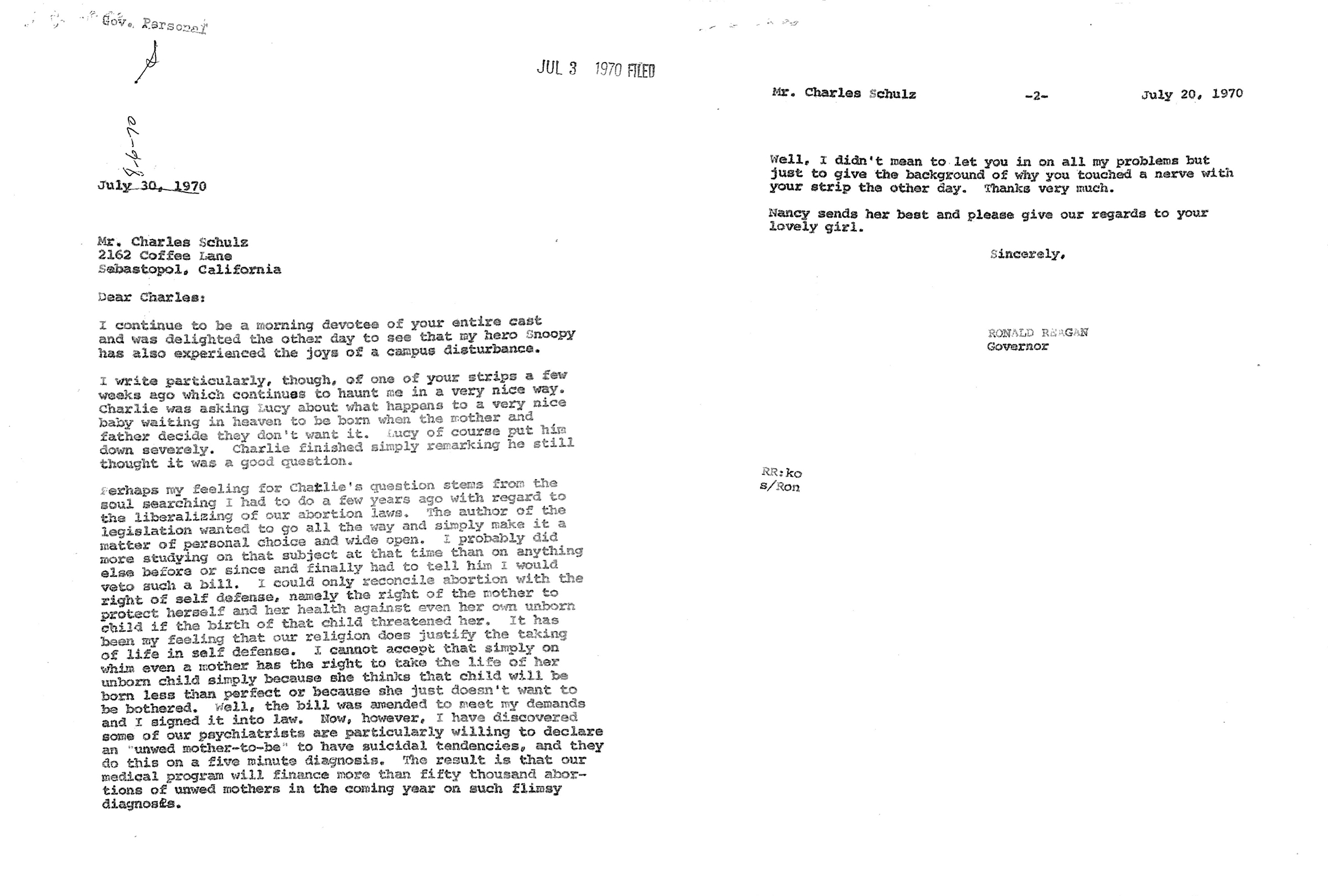 A letter from Governor Ronald Reagan to Charles M. Schulz, dated July 30, 1970