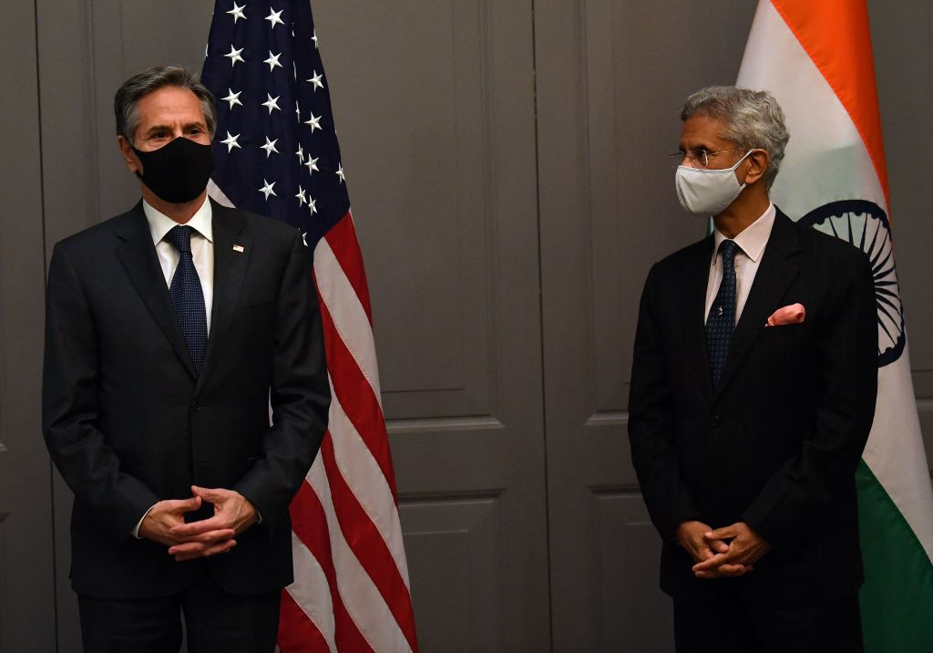 U.S. Secretary of State Antony Blinken attends a press conference with India's External Affairs Minister Subrahmanyam Jaishankar following a bilateral meeting in London on May 3, 2021, during the G7 foreign ministers meeting.
