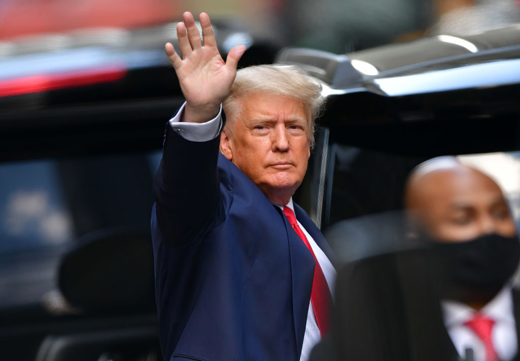 Former President Donald Trump leaves Trump Tower in Manhattan on May 18, 2021 in New York City.