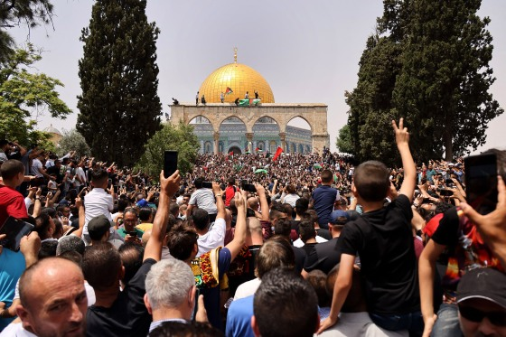 Palestinian Muslim worshippers gather at Al-Aqsa mosque compound in Jerusalem on May 21, 2021.