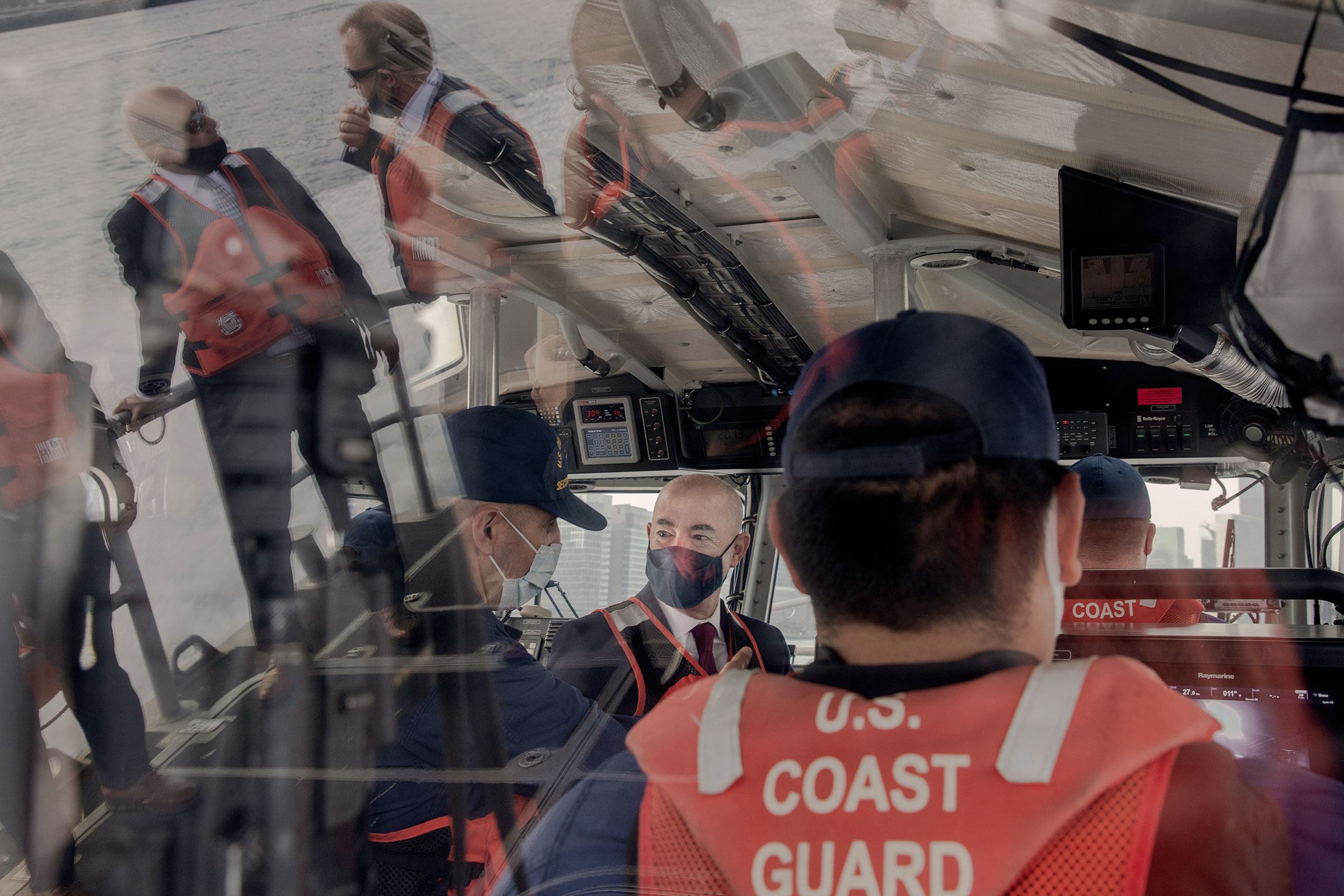 Mayorkas is escorted from the Brooklyn Navy Yard to La Guardia Airport by the Coast Guard during his trip to New York City on April 28, 2021.