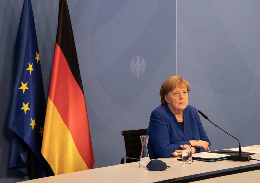 German Chancellor Angela Merkel attends the 12th meeting of the Petersberg Climate Dialogue conference in Berlin on May 6, 2021.