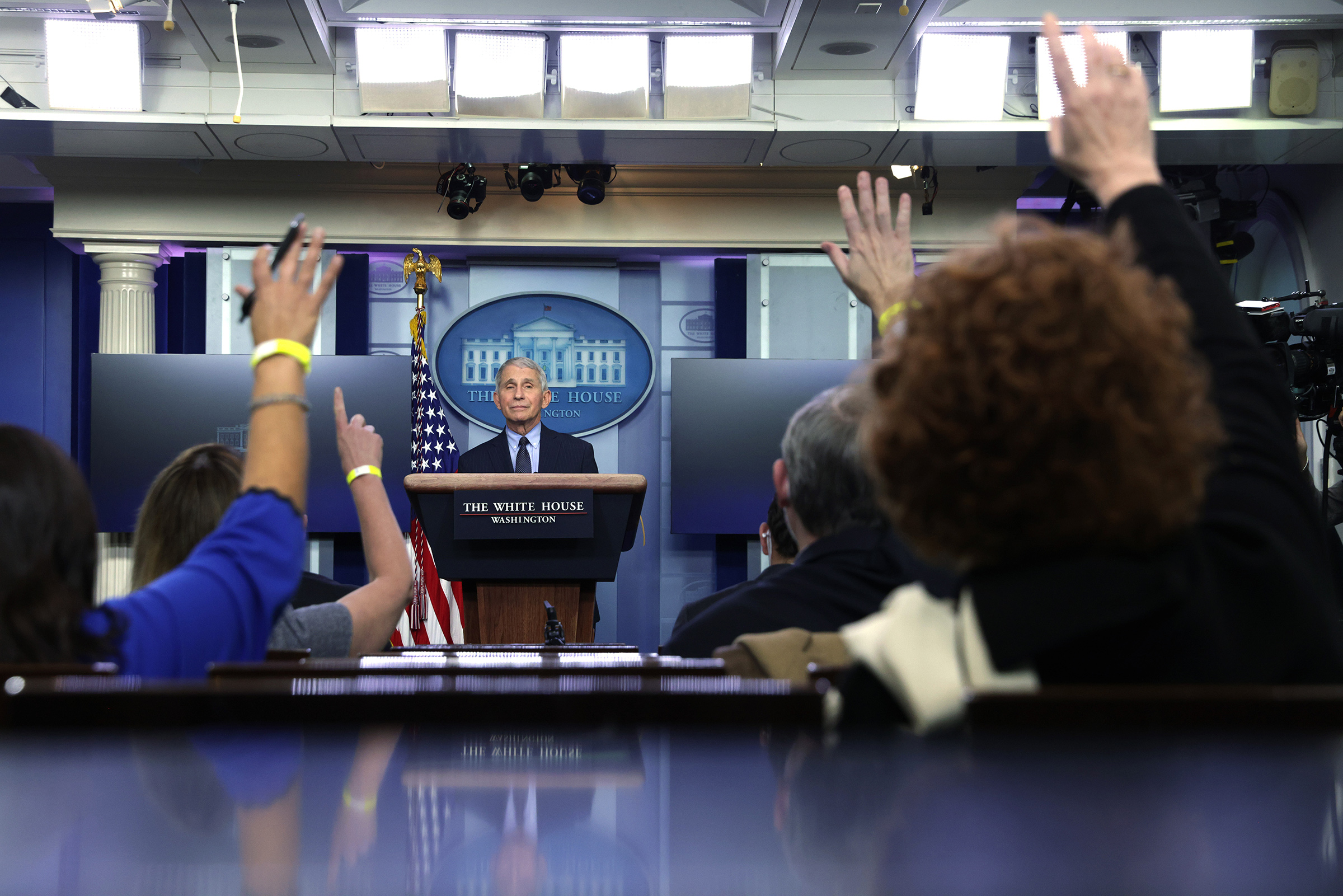 Fauci during a White House press briefing on Jan. 21.
