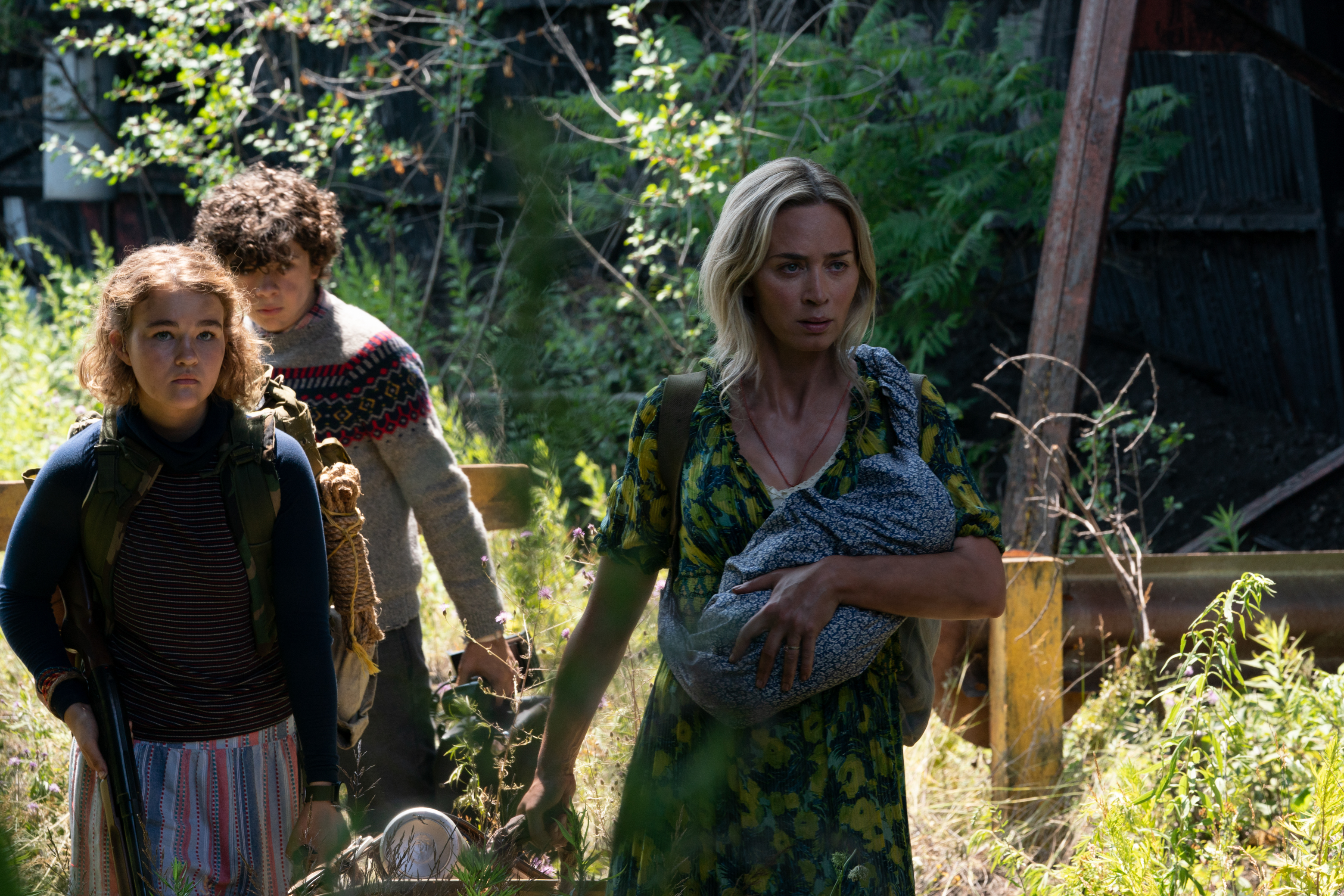 """Millicent Simmonds, Noah Jupe and Emily Blunt brave the unknown in  A Quiet Place Part II."""""""