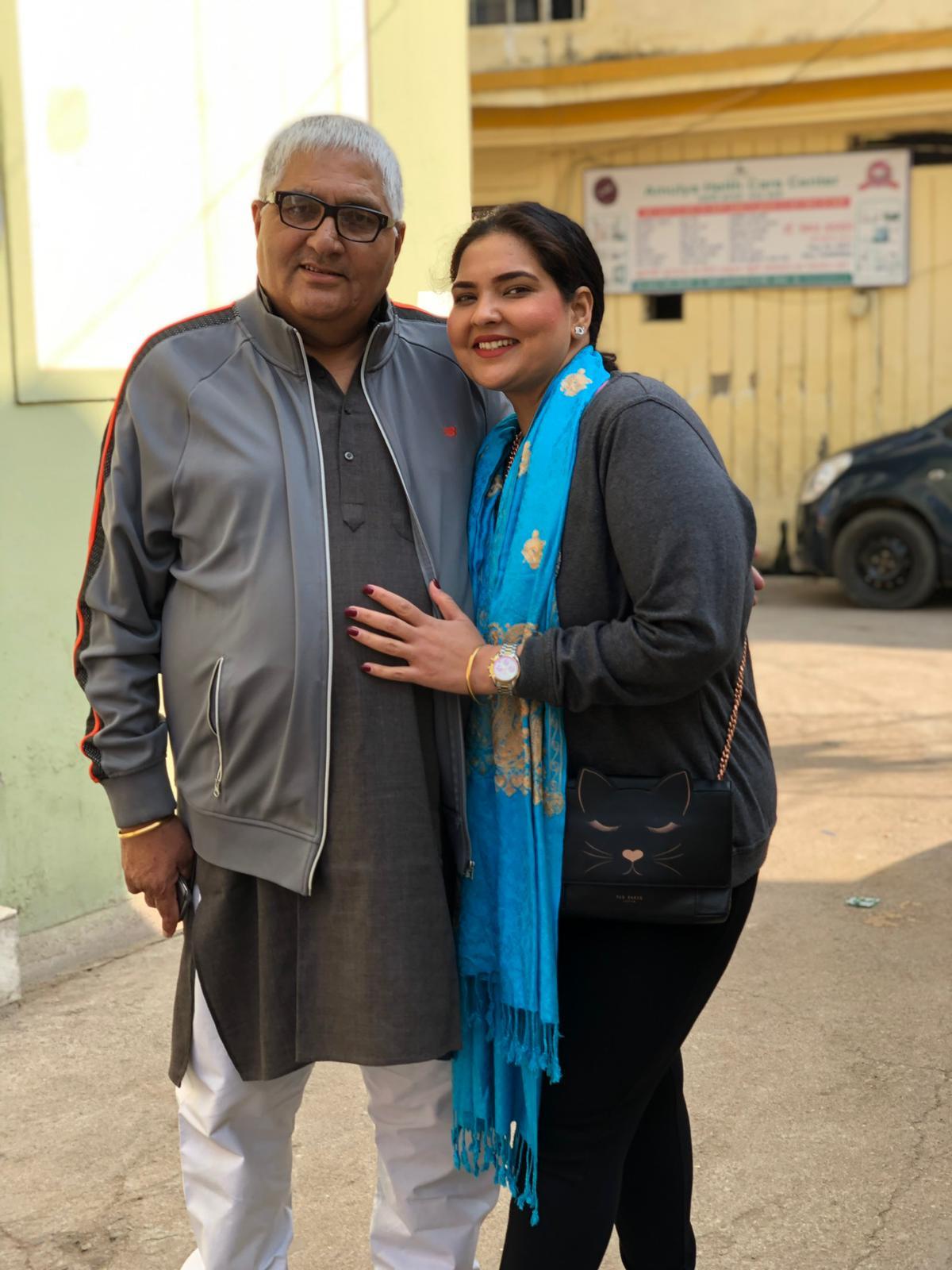 Ara Sharma Marar and her father in Gwalior, India in Jan. 2019