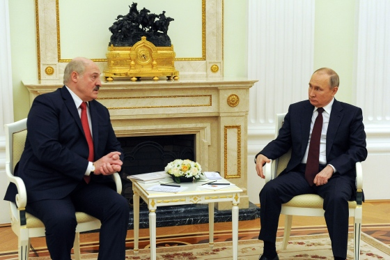 Russia's President Vladimir Putin, right, and his Belarusian counterpart, Alexander Lukashenko, hold a meeting in Moscow in April.