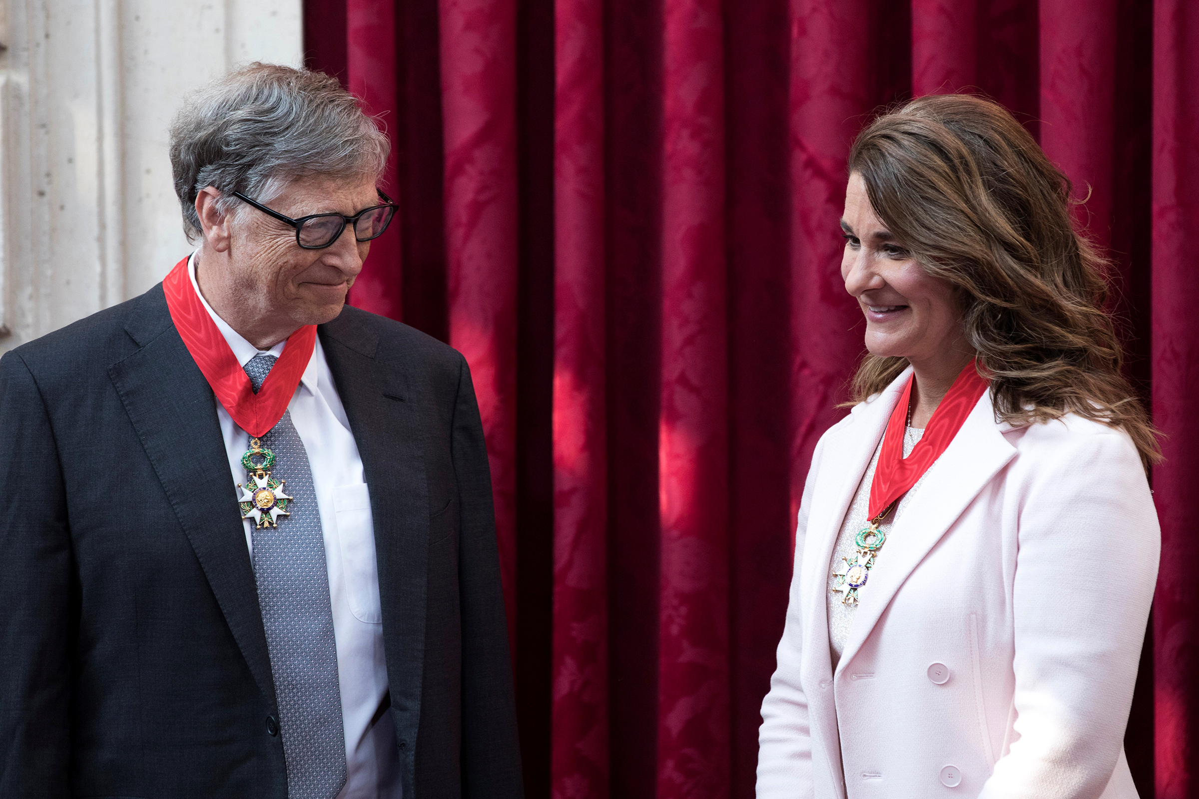 Bill Gates and Melinda Gates after being awarded Commanders of the Legion of Honor at the Élysée Palace in Paris on April 21, 2017.