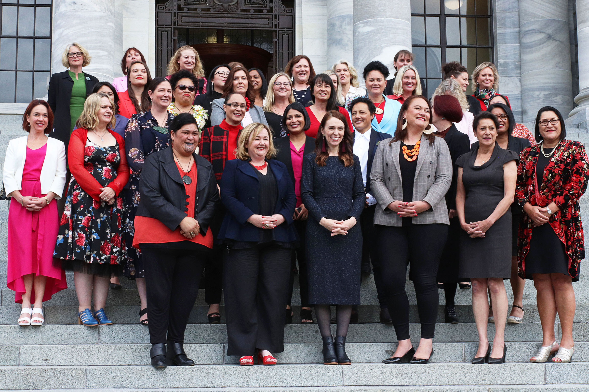 The New Zealand Labour Party's female MPs on the steps of parliament on Nov. 24, 2020, in Wellington.