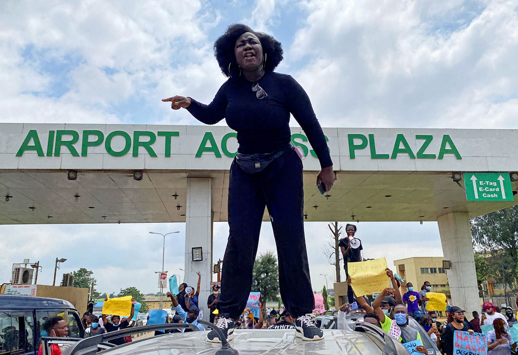 A woman at a protest against police brutality in Lagos, Nigeria.