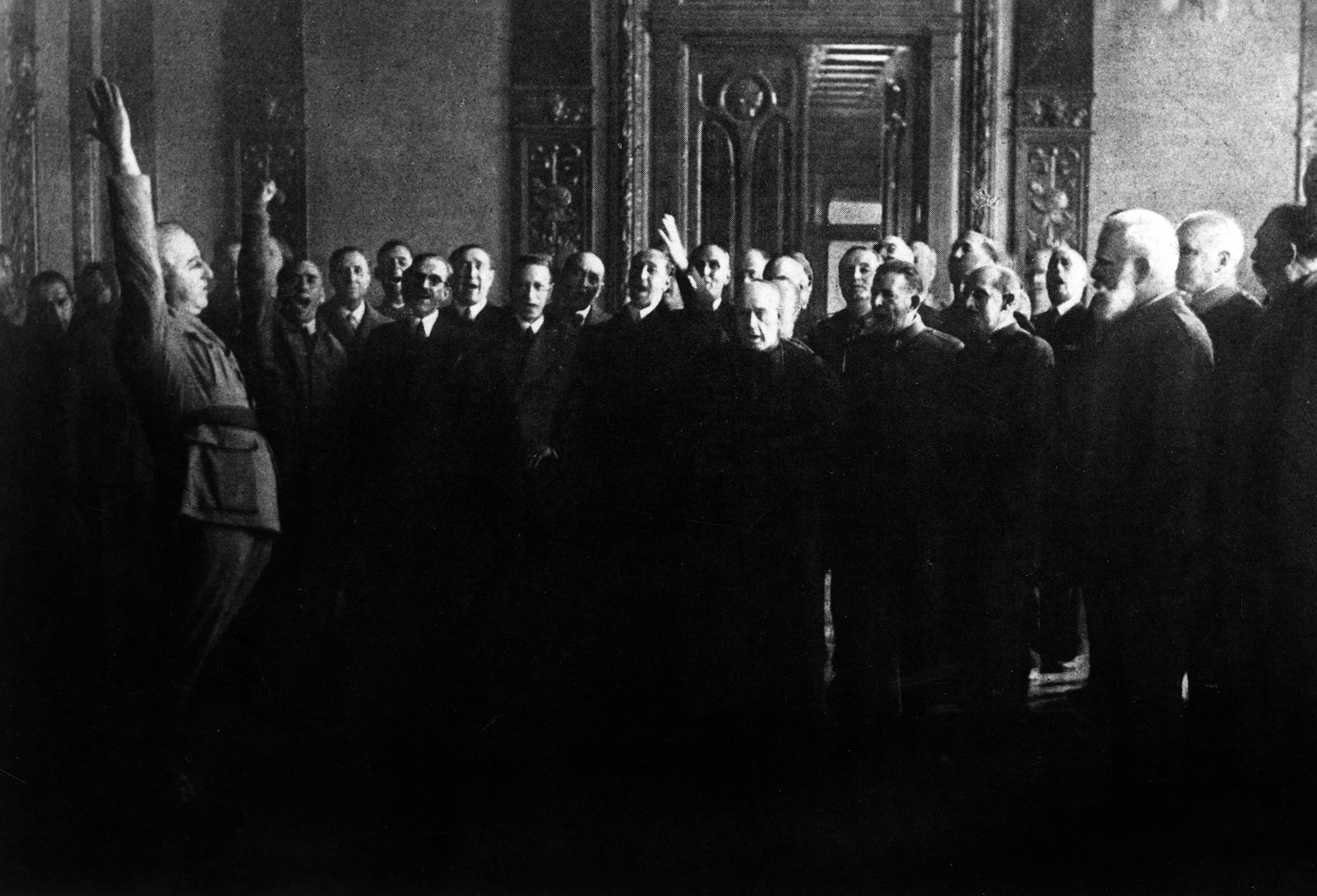 General Francisco Franco swearing allegiance to Spain in Oct. 1936.